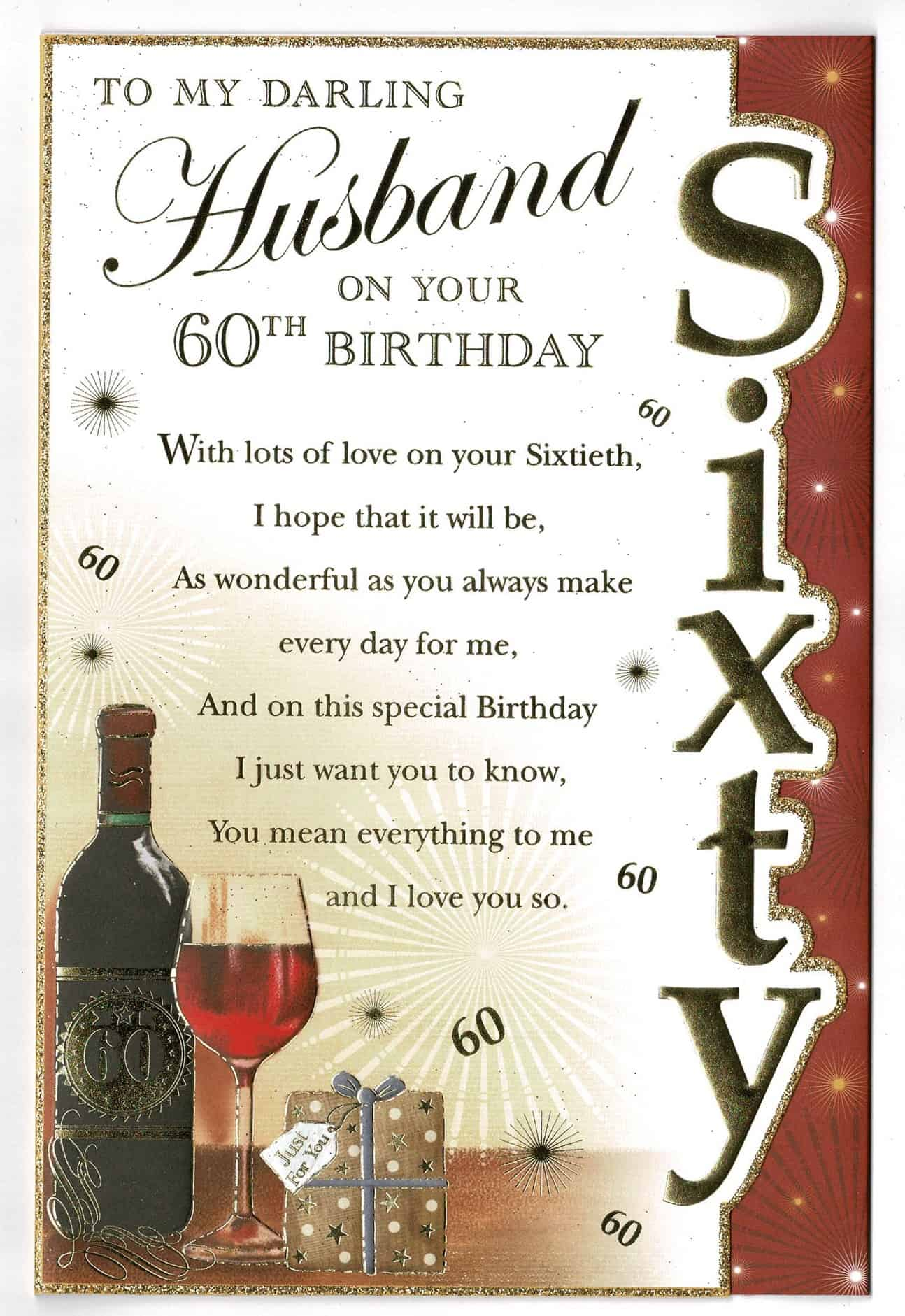 husband birthday card to my darling husband on your 60th