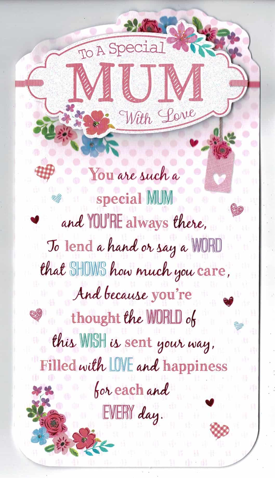 Mum Happy Birthday Card Loving Verse On Paper Insert