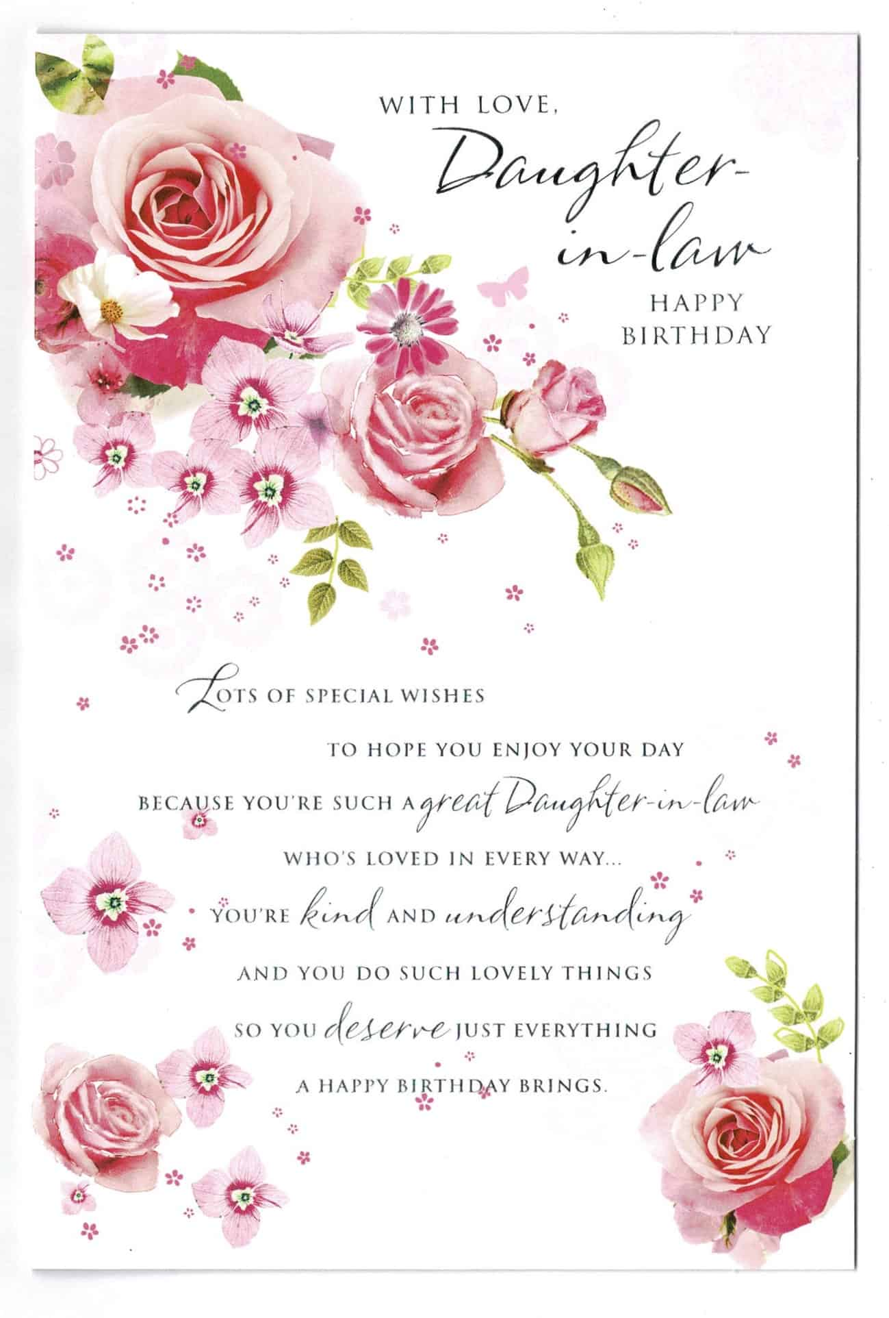 Daughter In Law Birthday Card With Rose And Sentiment Verse Design