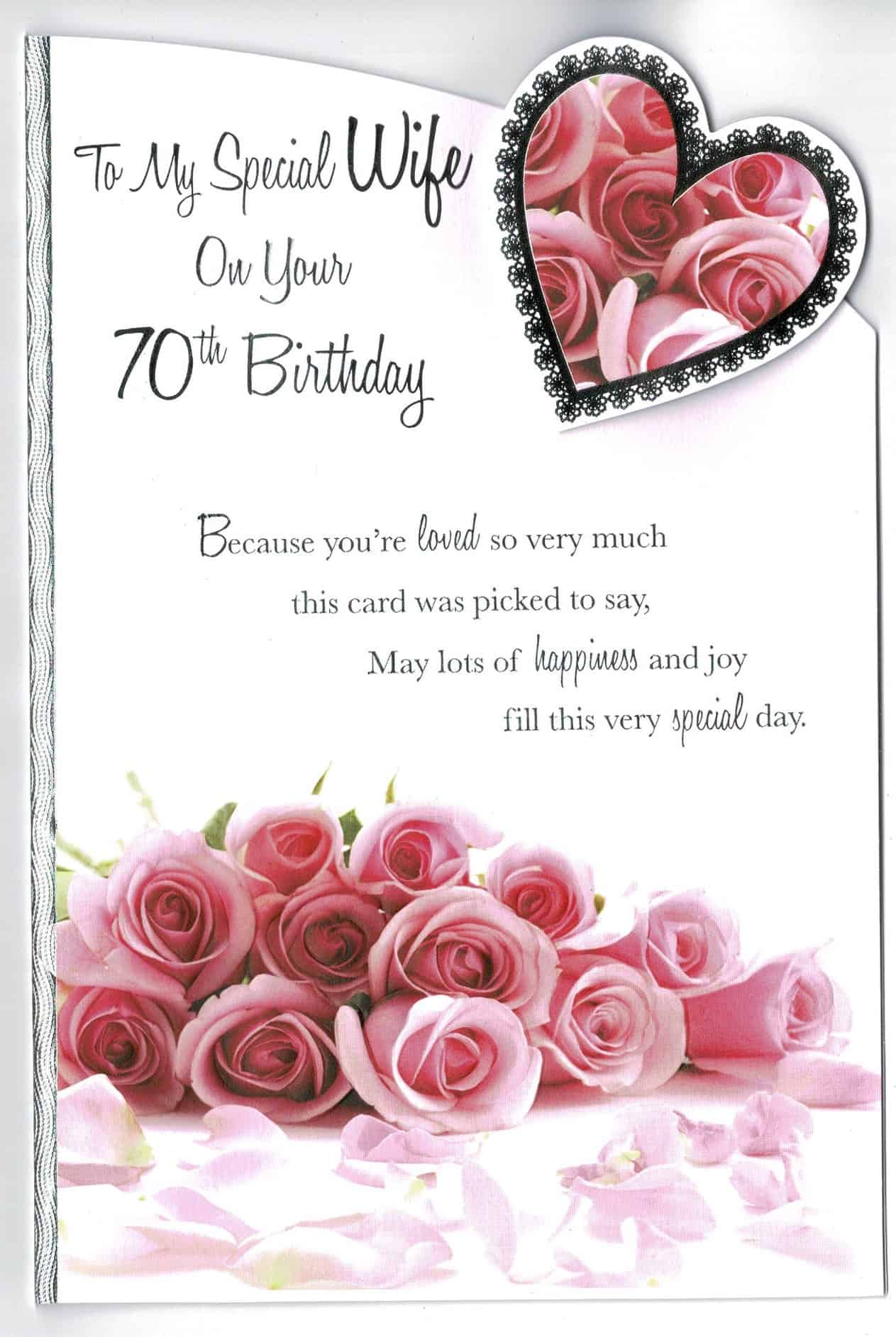 wife 70th birthday card 'to my special wife on your 70th