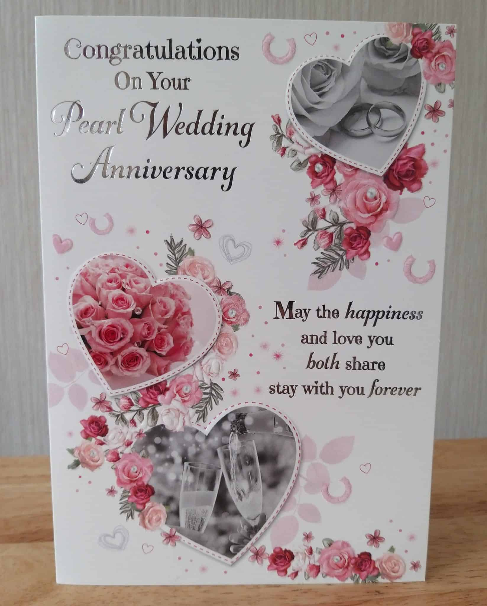 Gifts For 21st Wedding Anniversary: Pearl Wedding Anniversary Card With Sentiment Verse