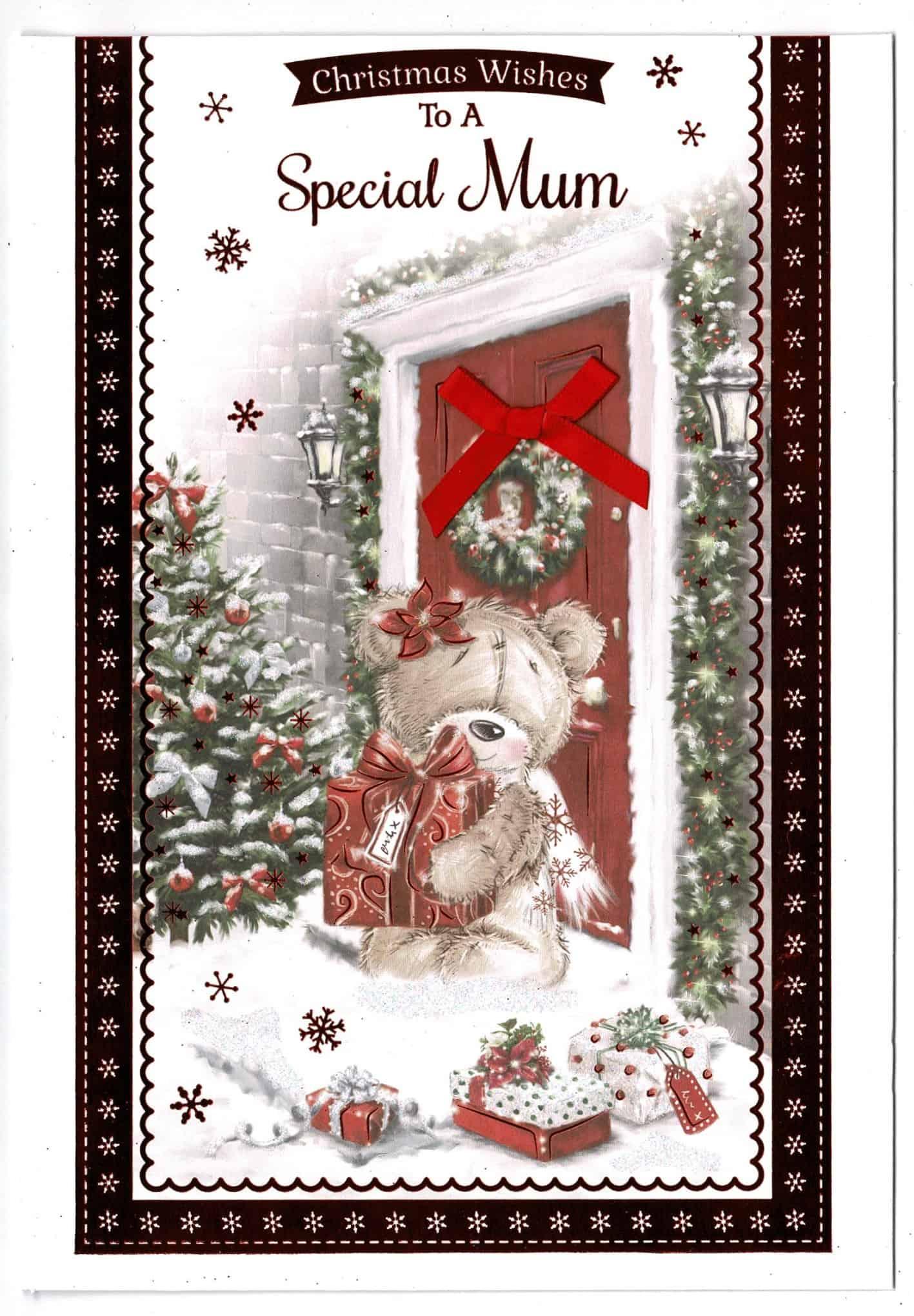 Christmas Card Design.Mum Christmas Card To A Special Mum Cute Teddy Bear Design