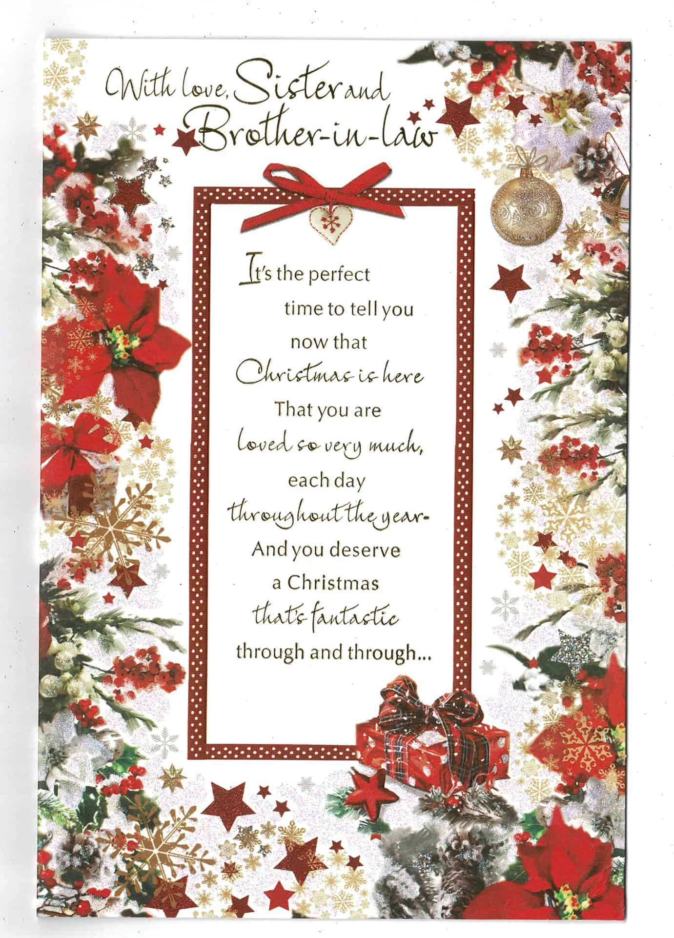 Sister And Brother In Law Christmas Card With Sentiment ...