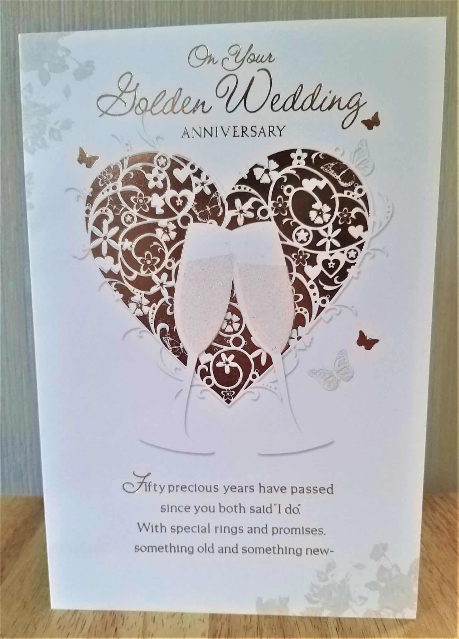 Golden 50th Wedding Anniversary Card Embossed With Hearts And ...