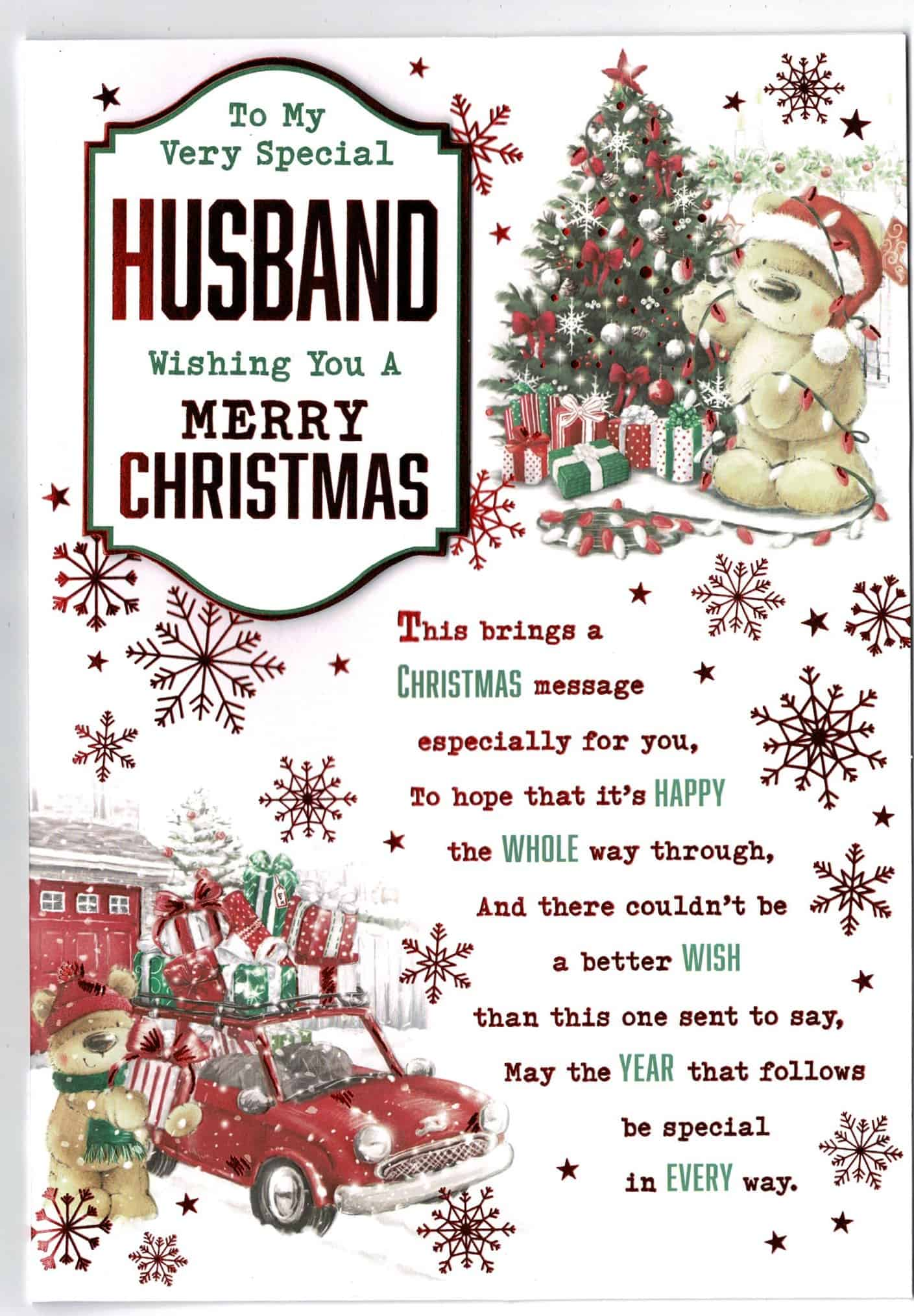 husband christmas card with teddy bear and sentiment verse