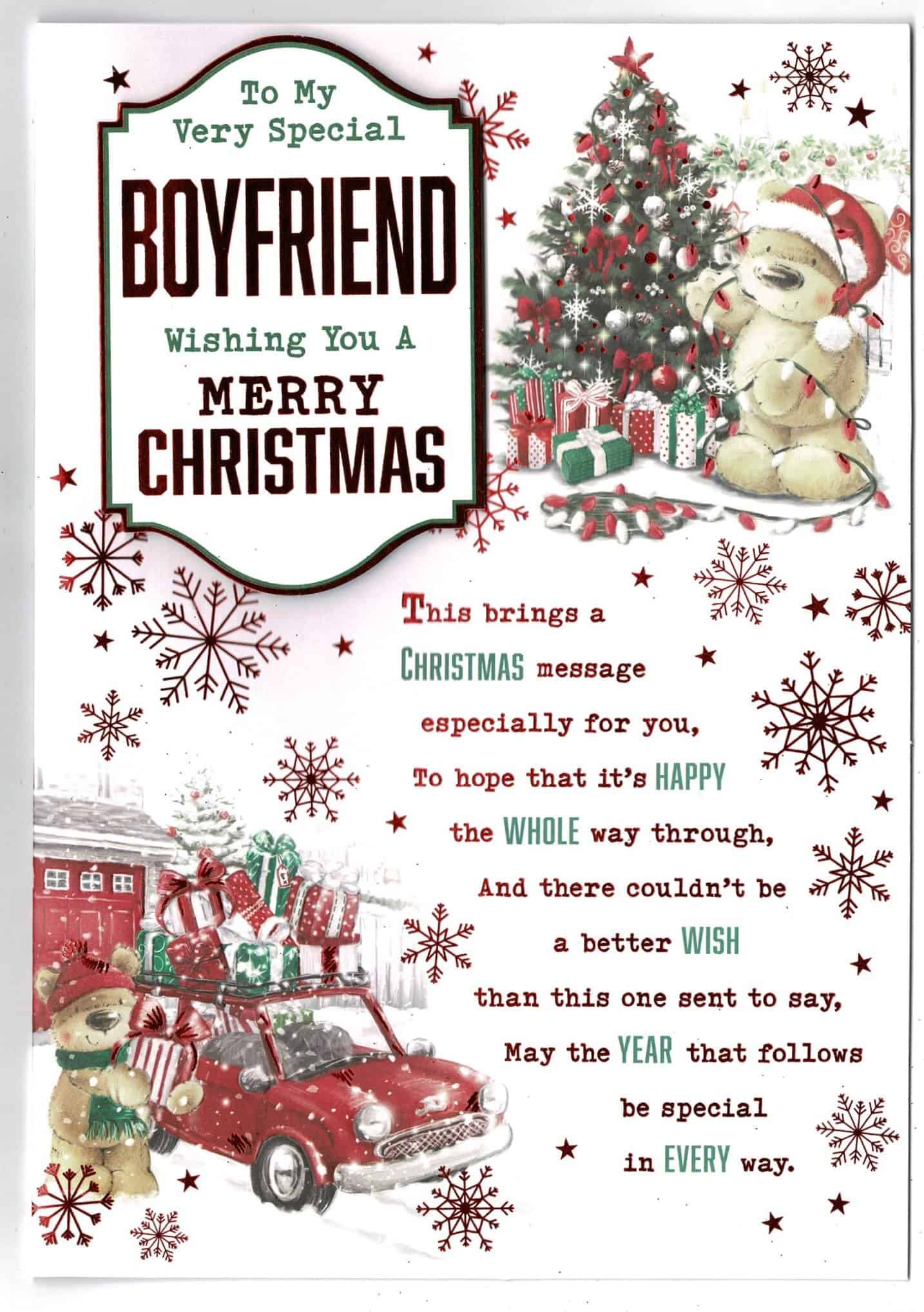 Boyfriend Christmas Card With Teddy Bear And Sentiment Verse Large 17 Cm X 25 Cm With Love Gifts Cards