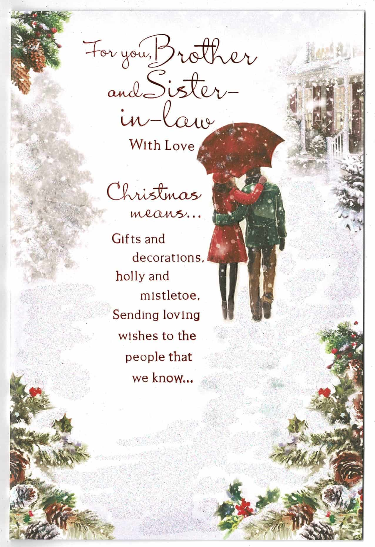 Brother And Sister In Law Christmas Card With Sentiment ...