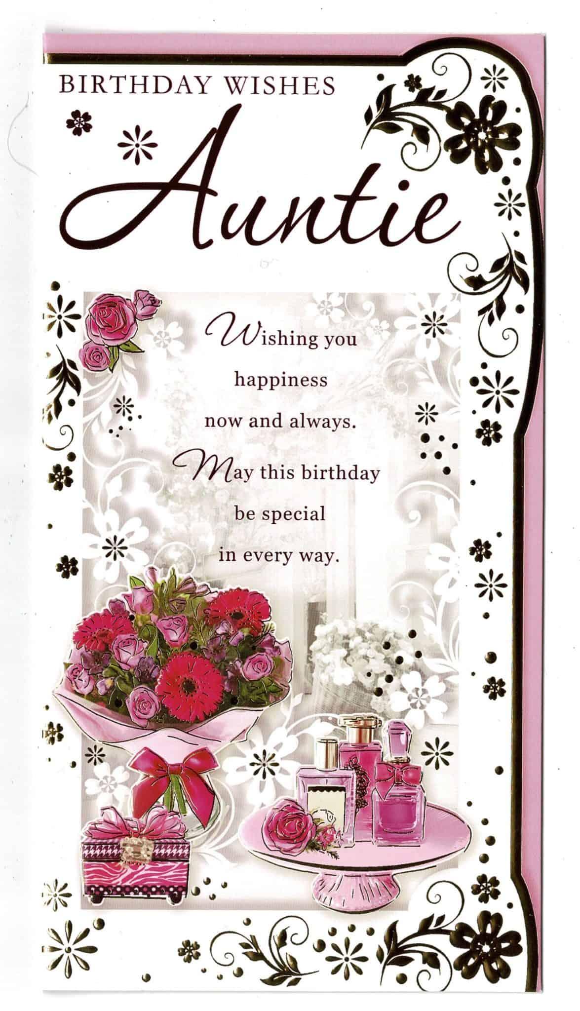 auntie birthday card with sentiment verse 'birthday wishes