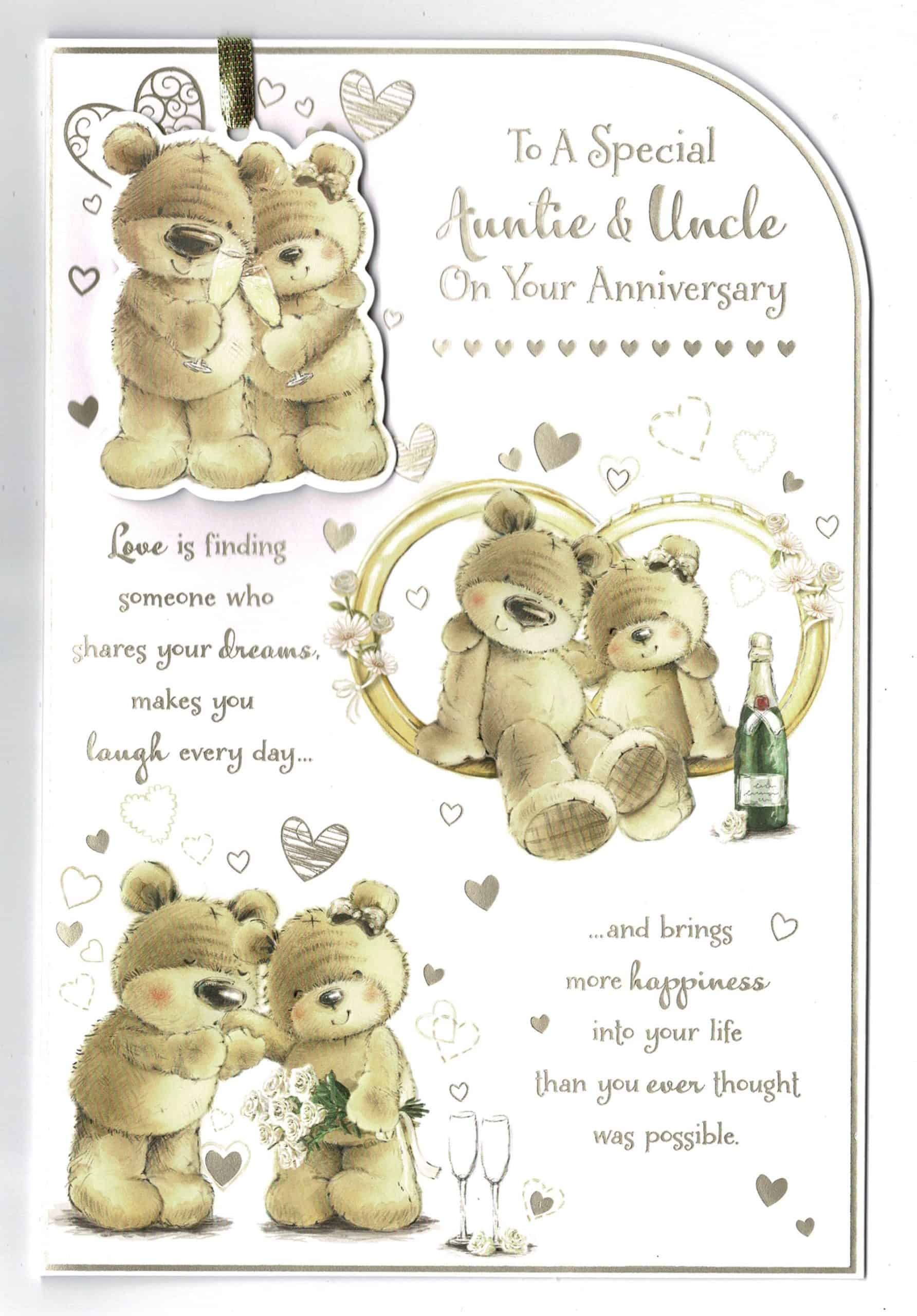 AUNTIE /& UNCLE ANNIVERSARY CARD ~ CUTE SWING DESIGN ~ QUALITY CARD /& VERSE