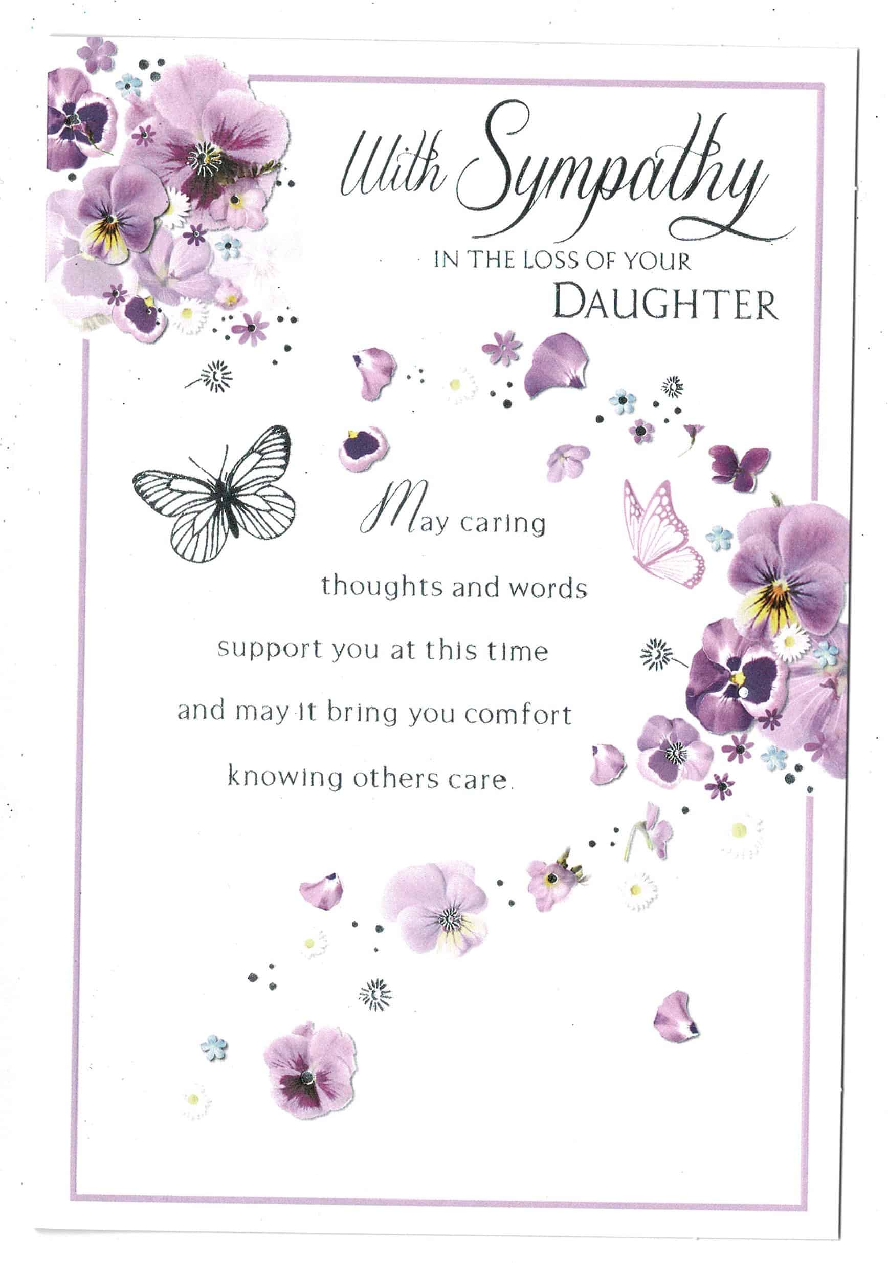 Lilac Floral Sympathy Card With Sympathy In The Loss Of Your Daughter