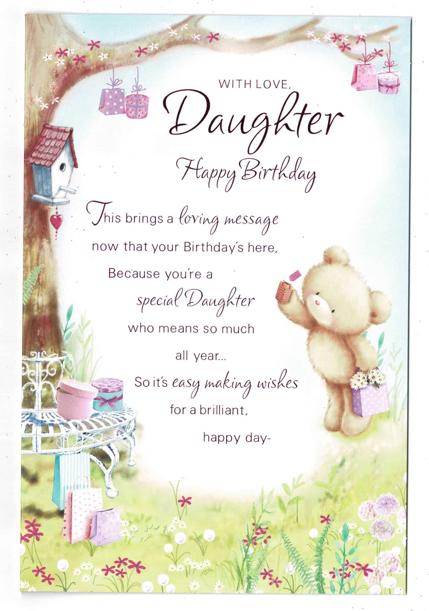 daughter birthday card 'with love daughter happy birthday