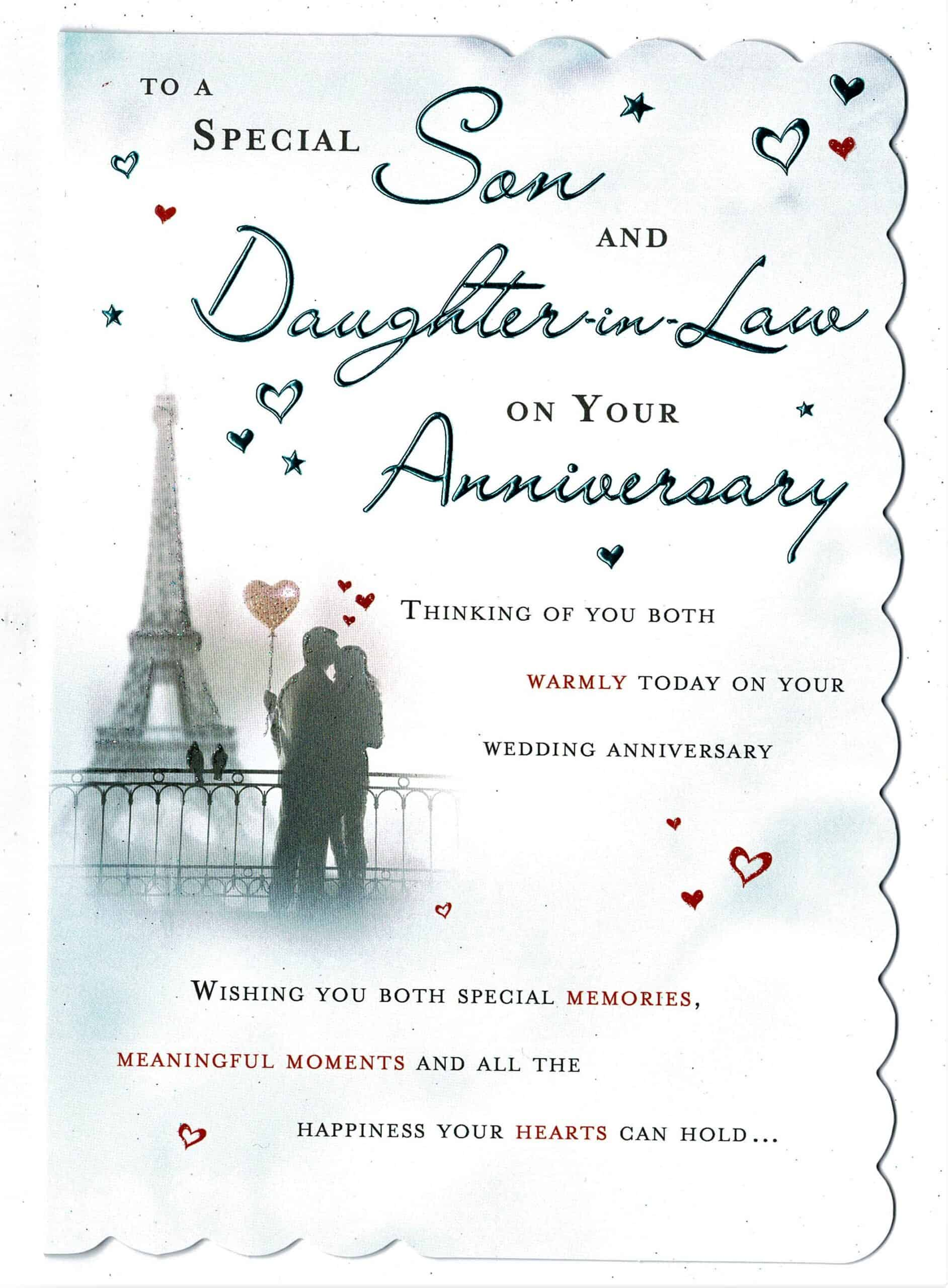 son and daughter in law anniversary card with sentiment