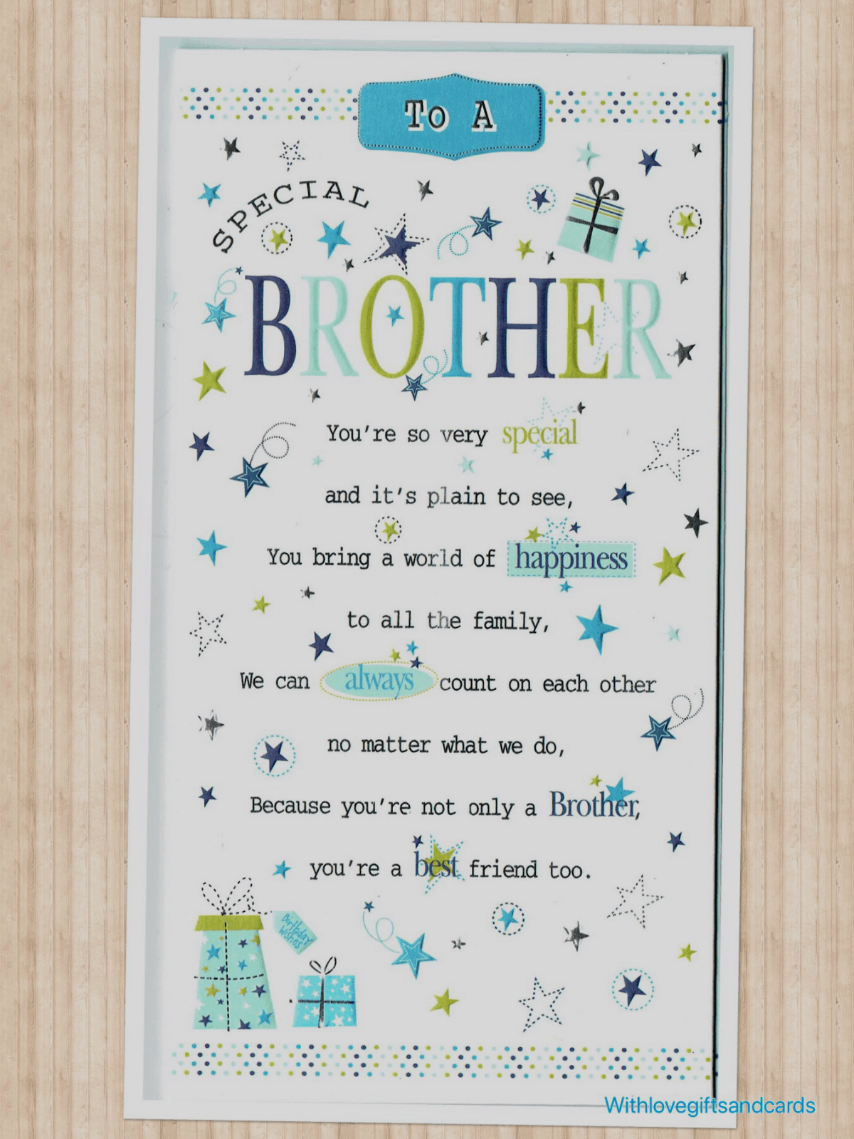Brother Birthday Card Embossed With Sentiment Verse