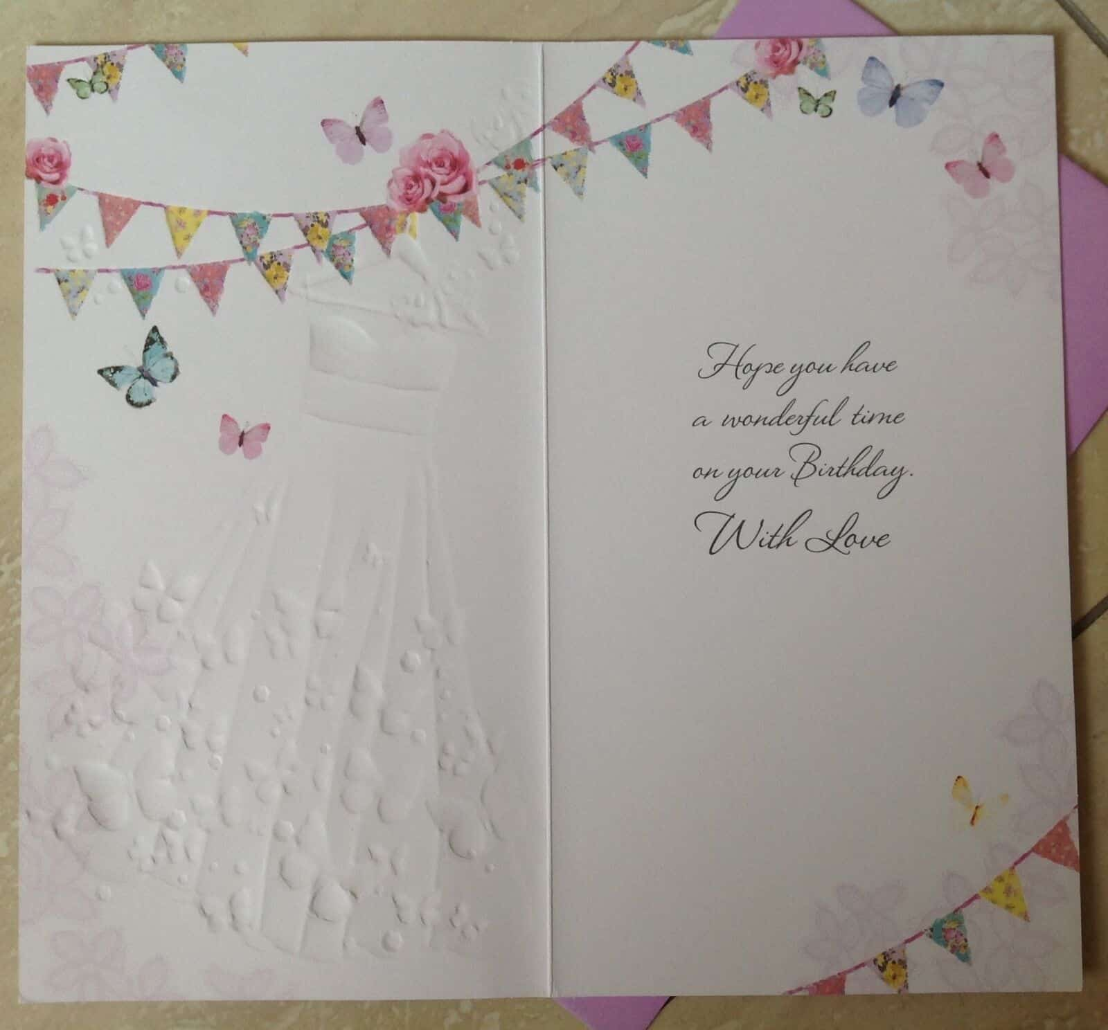 Daughter Birthday Card With Embossed Dress And Butterfly