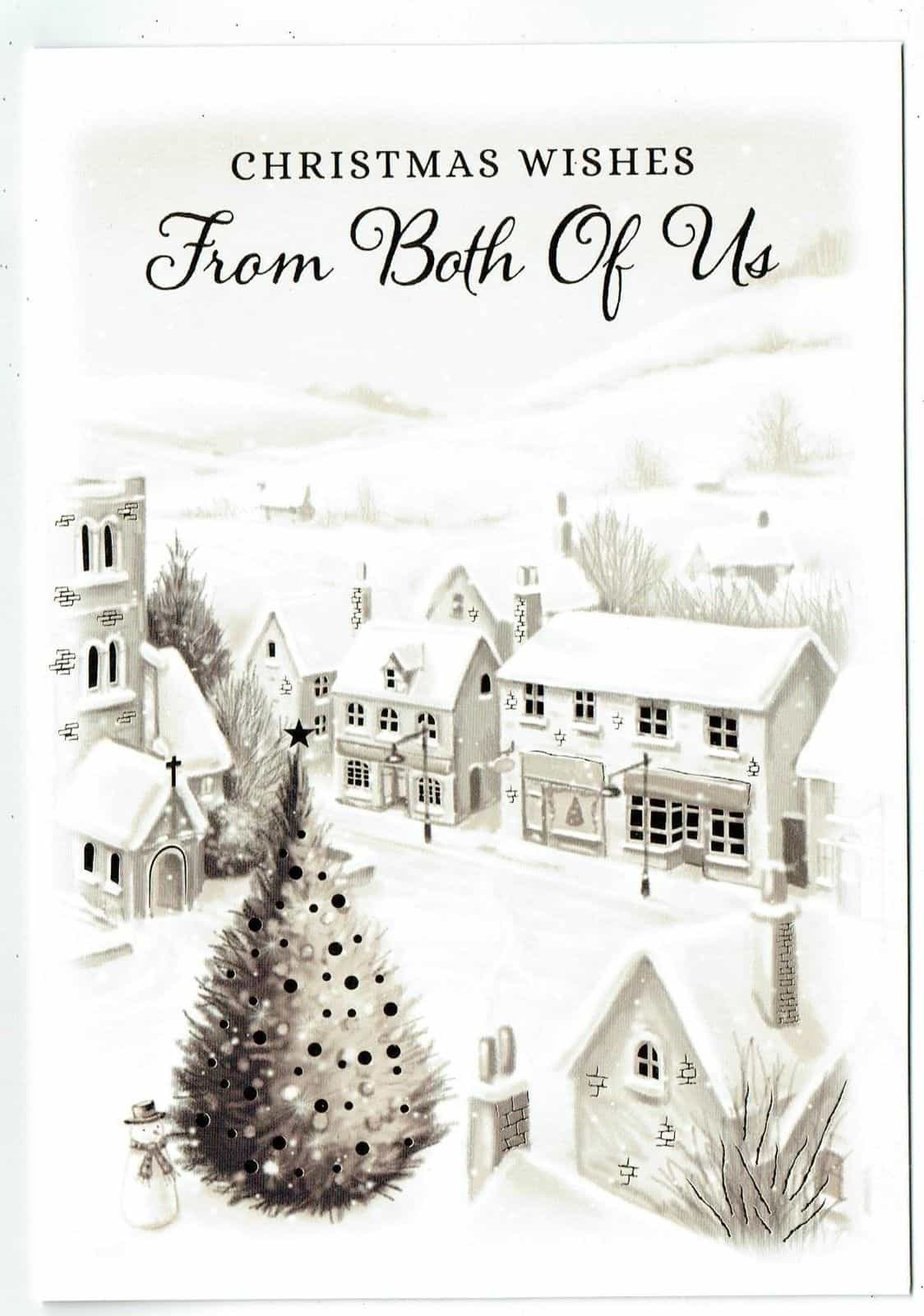 /'From Both Of Us/' Christmas Card With Festive Christmas Scene