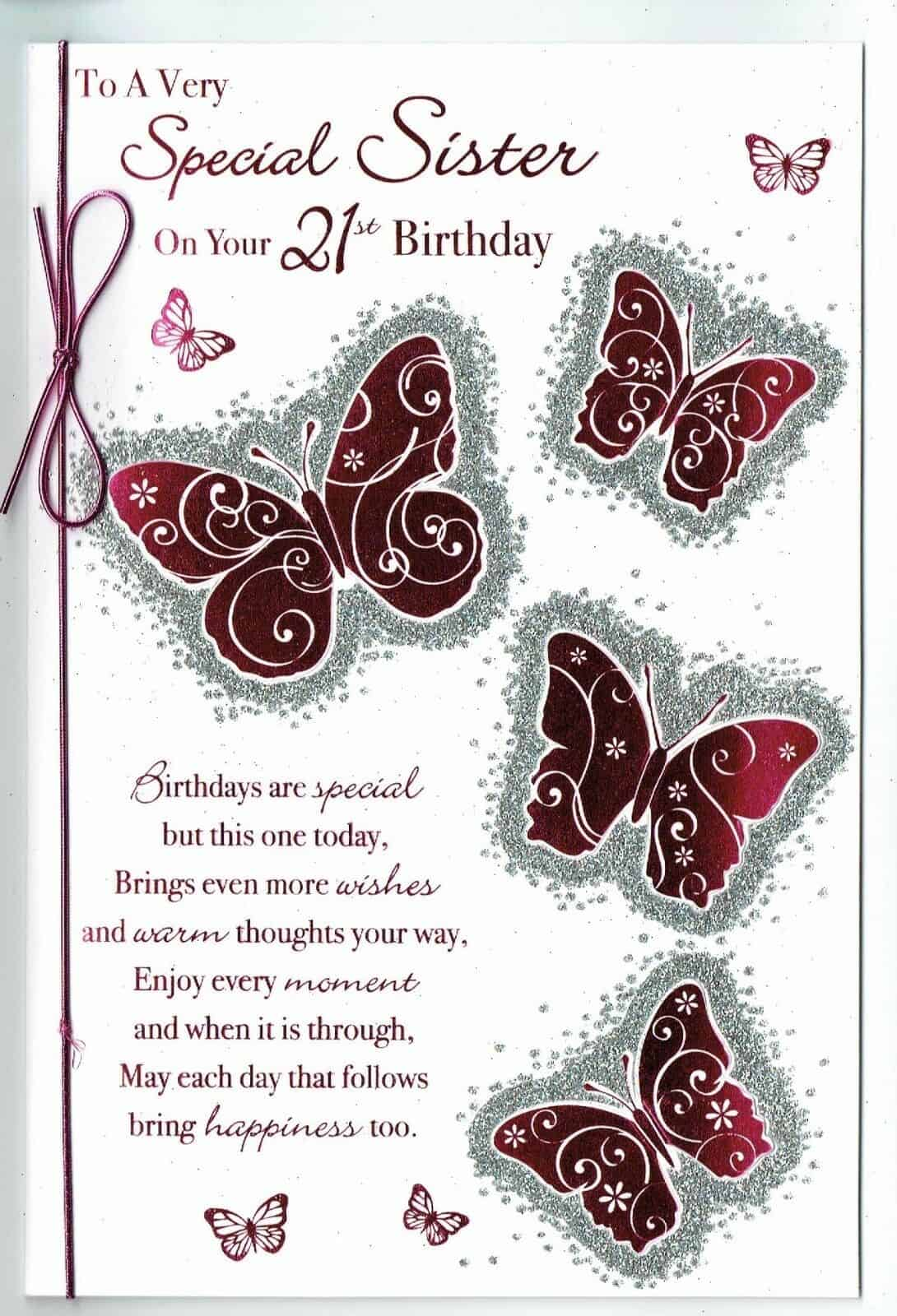 Sister Birthday Card 21st With Butterflies And Sentiment