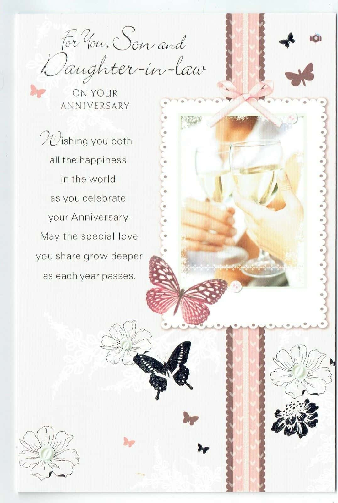 CUTE HAPPY ANNIVERSARY SON DAUGHTER-IN-LAW ANNIVERSARY CARD 2 DESIGNS 1ST P/&P
