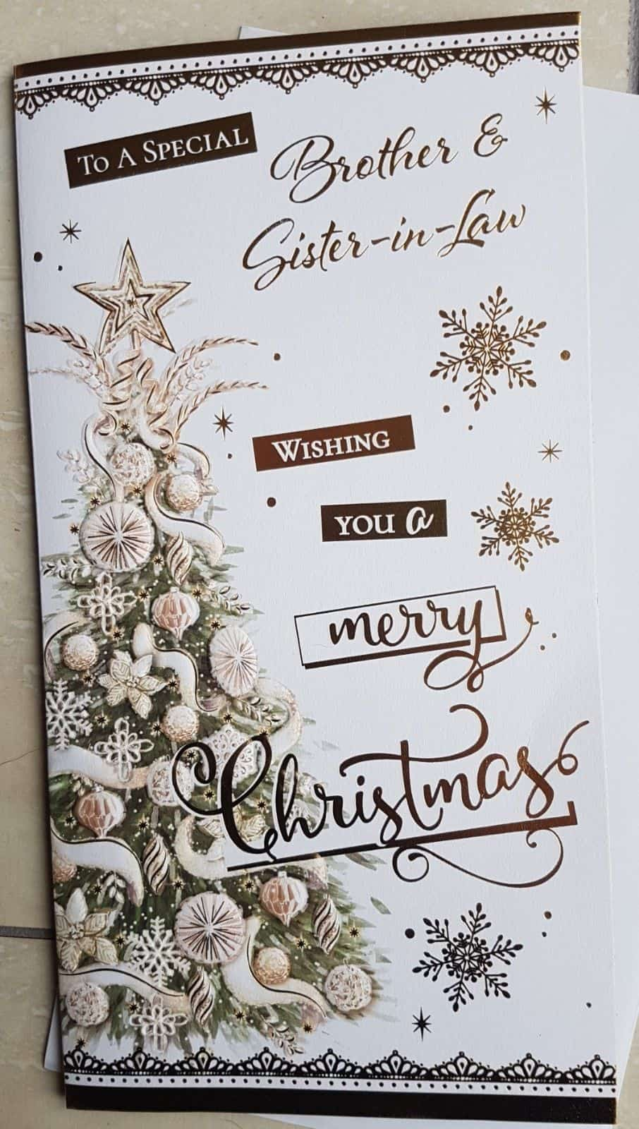 Christmas Gifts For Brother And Sister In Law.Brother Sister In Law Christmas Card With Festive Gold Christmas Tree