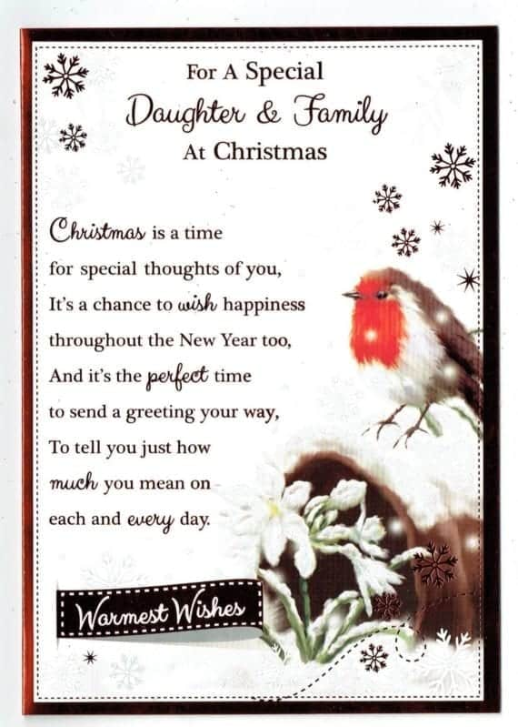daughter  family christmas card with robin and sentiment