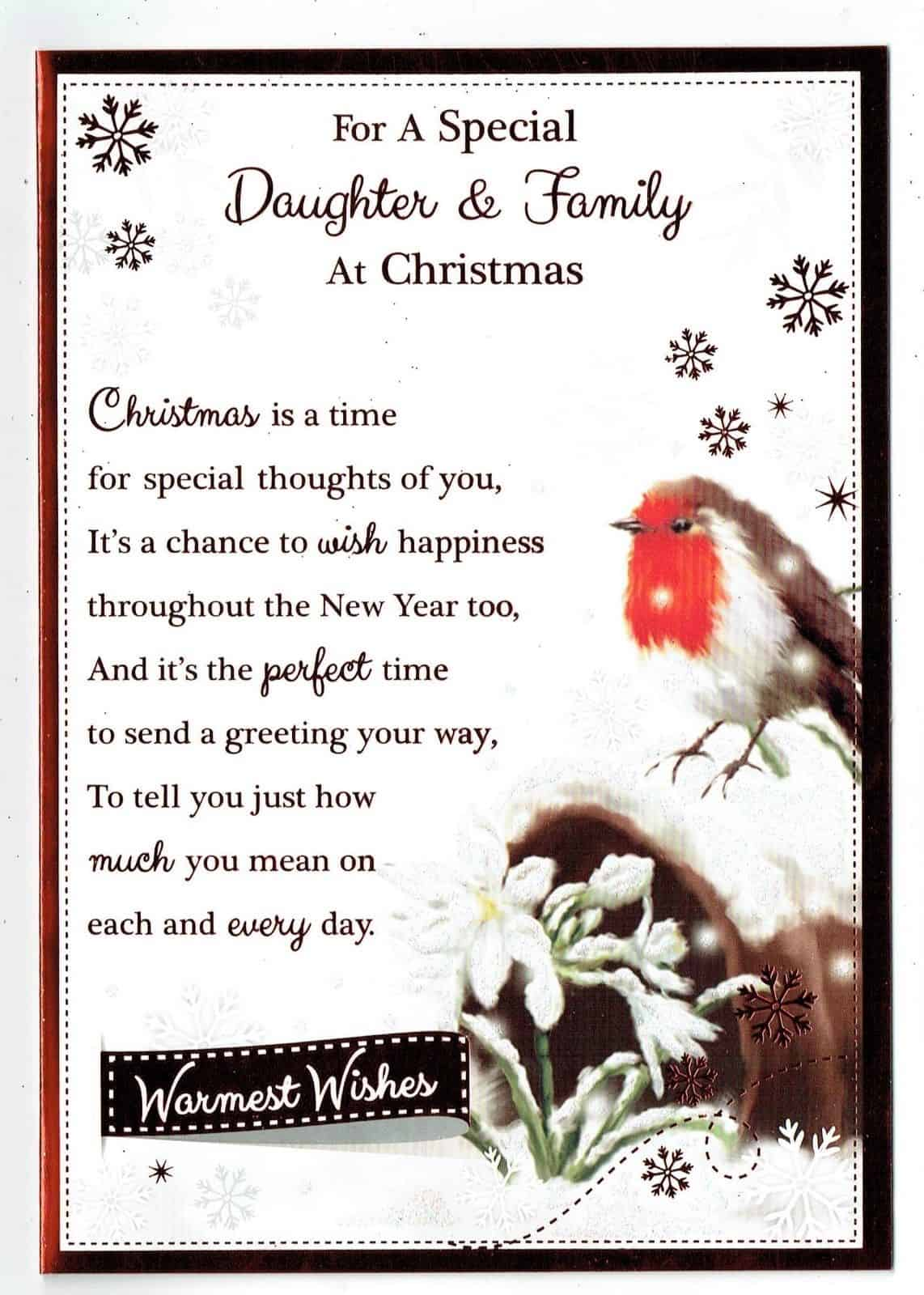 Christmas Card Verses.Daughter Family Christmas Card With Robin And Sentiment Verse Design