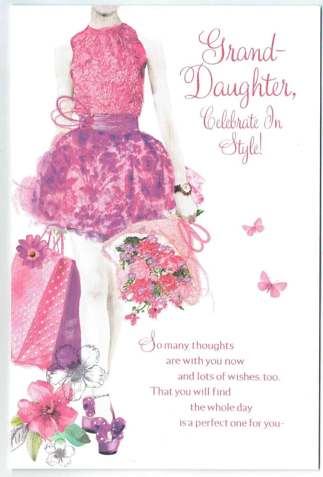 Granddaughter Birthday Card Embossed Elegant With Sentiment Verse