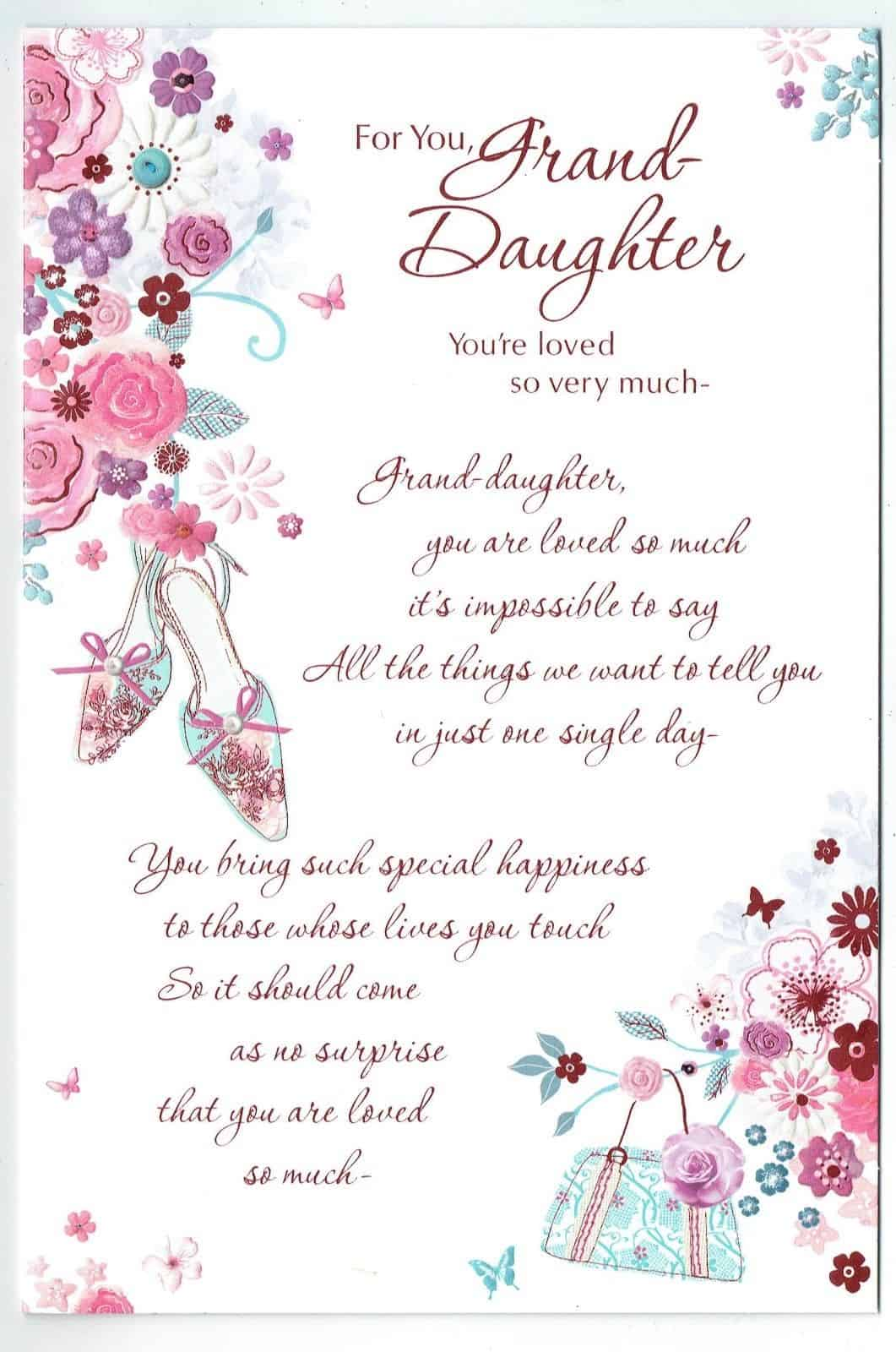Granddaughter Birthday Card With Lovely Sentiment Verse Shoes Flower Design 283227366291