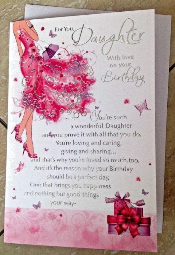 Daughter Birthday Card Embossed With /'Love To A Wonderful Daughter/'