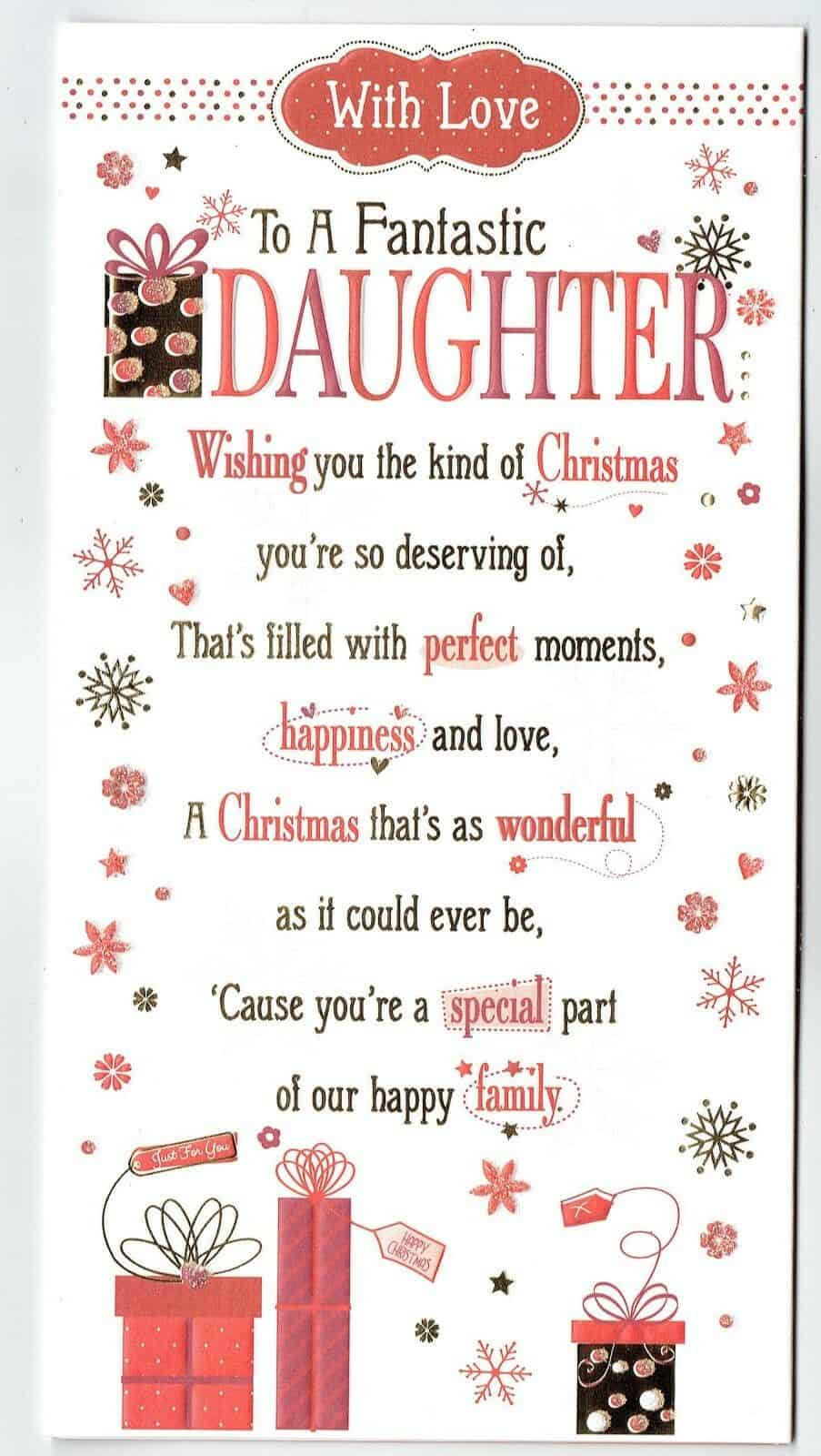 Christmas Card Verses.Daughter Christmas Card With Embossed With Sentiment Verse Pop Out Centre