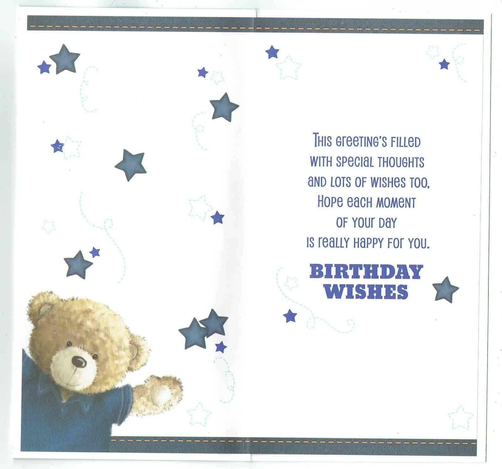 Godson Birthday Card With Teddy Bear TO A