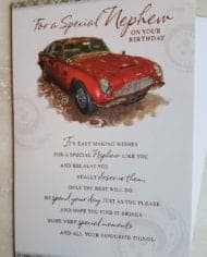 Nephew-Birthday-Card-With-Red-Sports-Car-And-Sentiment-Verse-282875023772