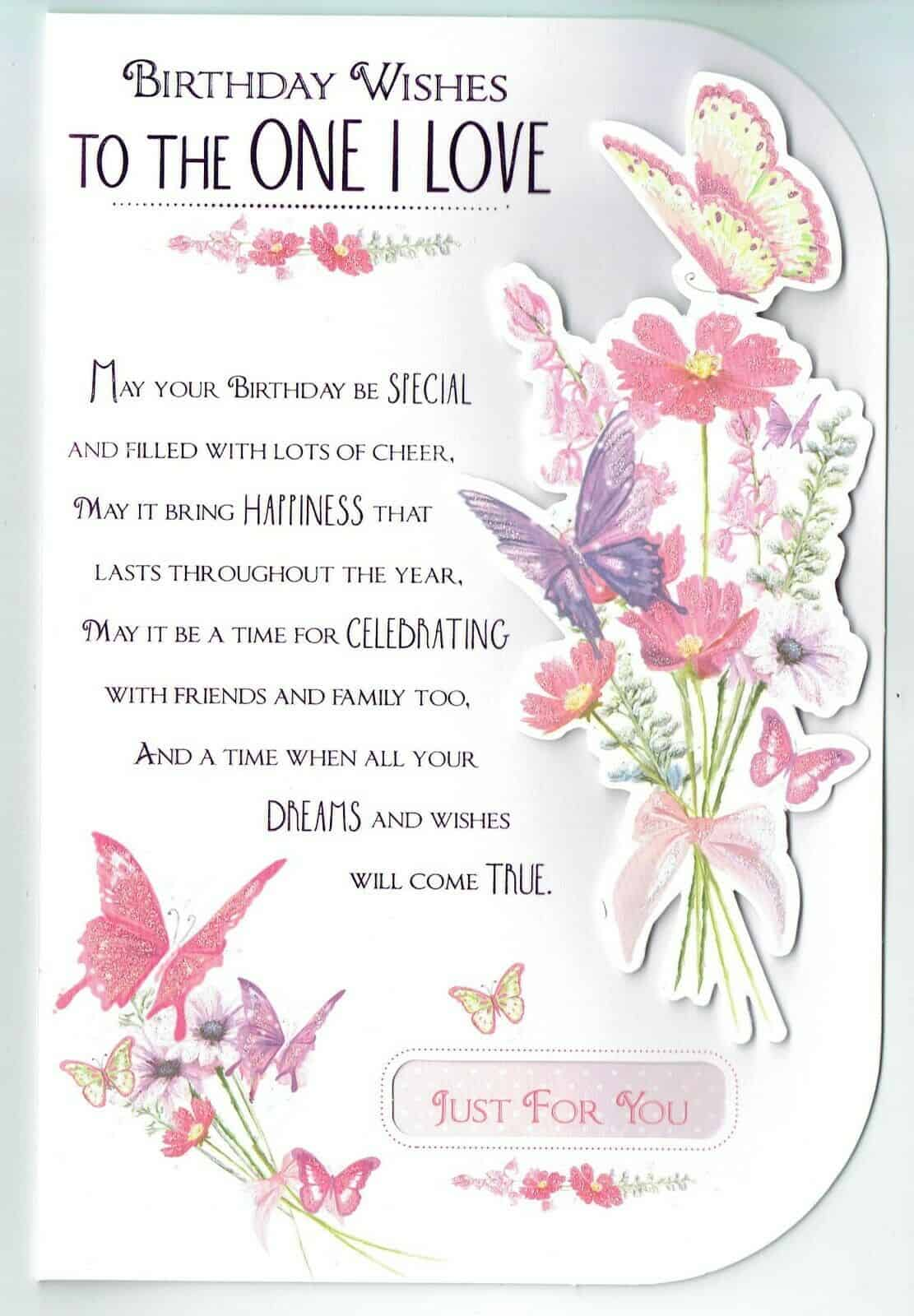 One I Love Birthday Card Partner Girlfriend Fiance