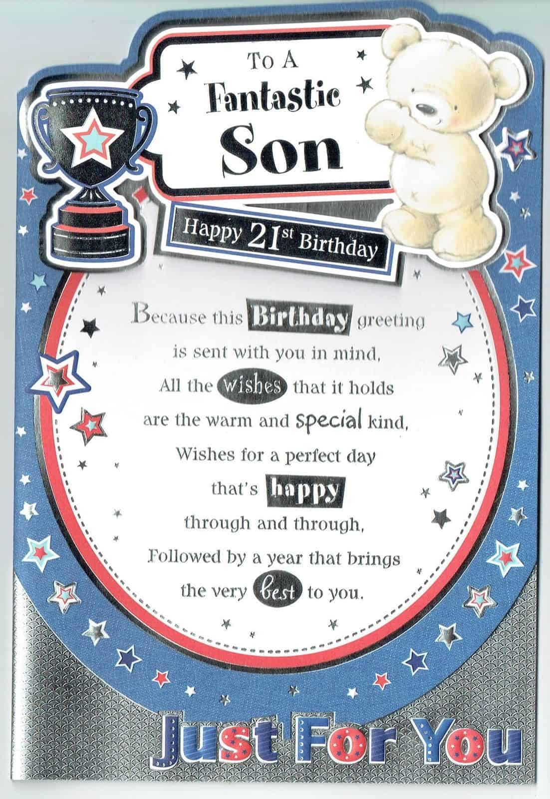 Surprising Son 21St Birthday Card To A Fantastic Son With Sentiment Verse Personalised Birthday Cards Paralily Jamesorg