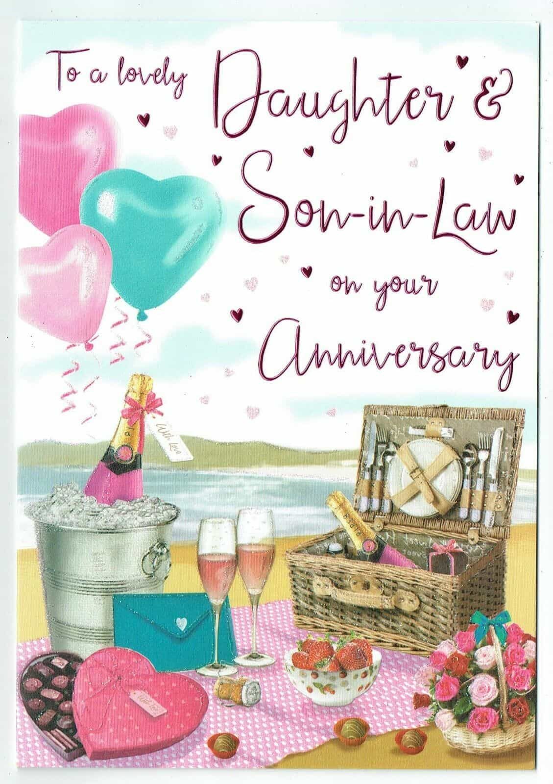 Daughter /& Son In Law On Your Anniversary Champagne  Design Lovely Verse Card