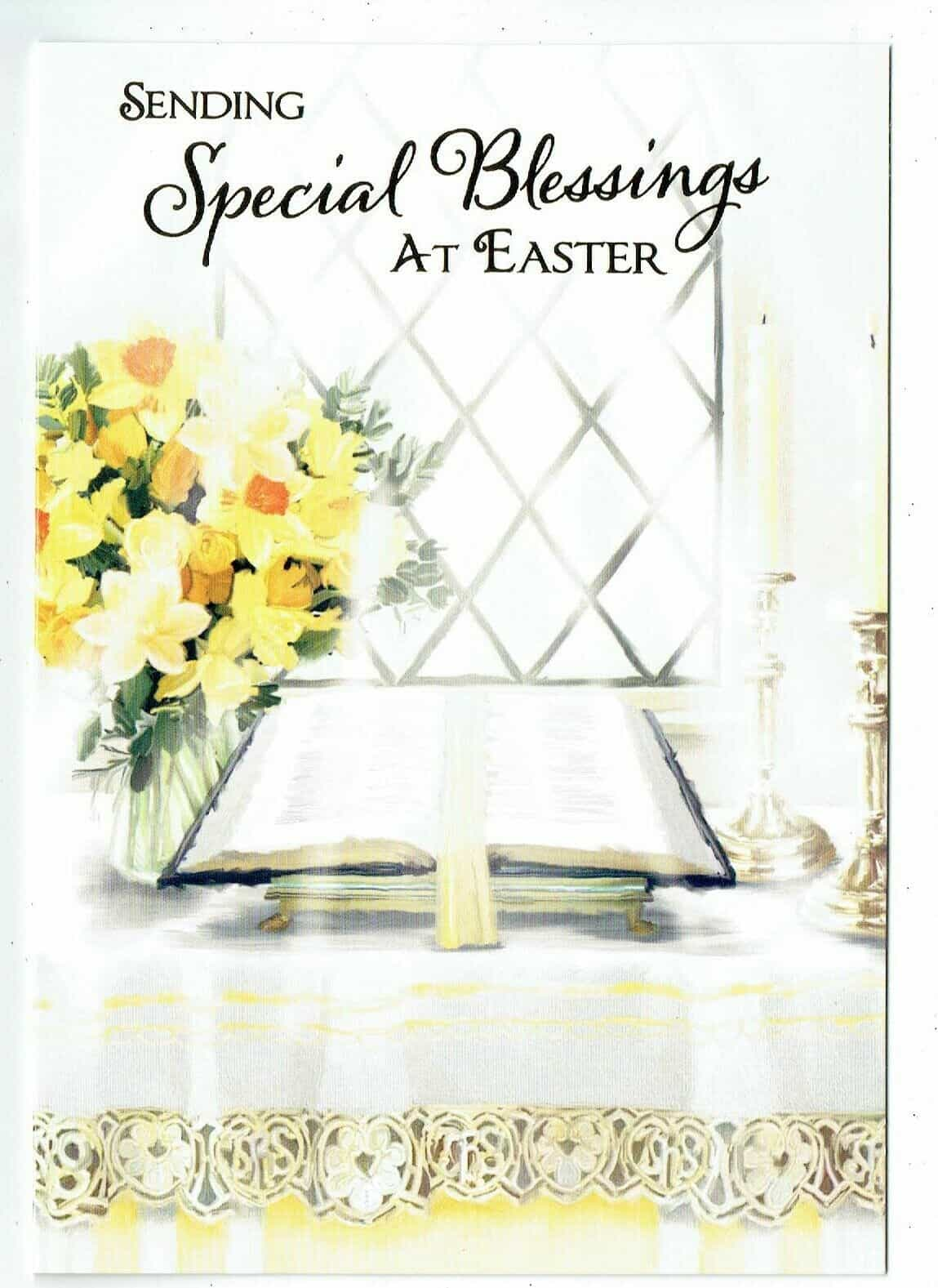 Easter Card  Altar Scene With Daffodils  /'Special Blessings At Easter/'