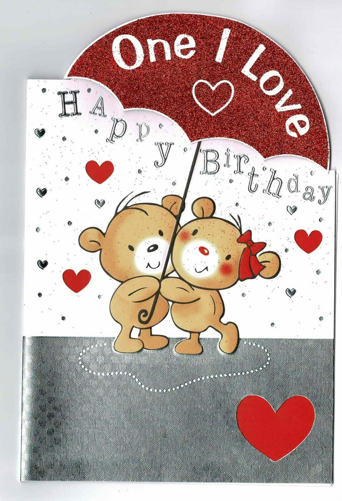 One I Love Birthday Card With Cute Bear