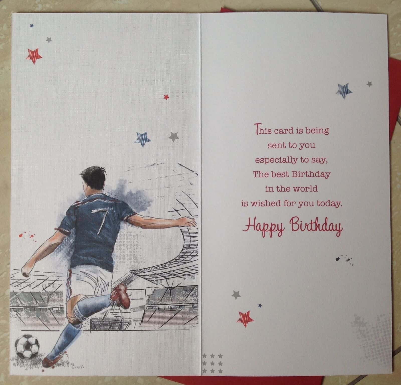 Son In Law Birthday Card With Embossed Football