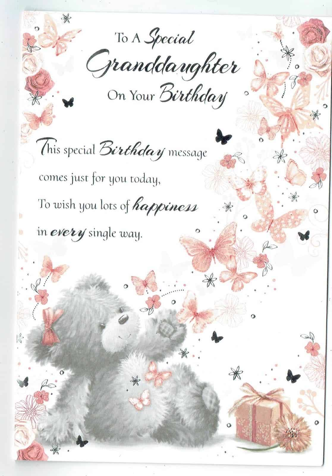 Granddaughter Birthday Card With ButterfliesTeddy Bear Sentiment Verse