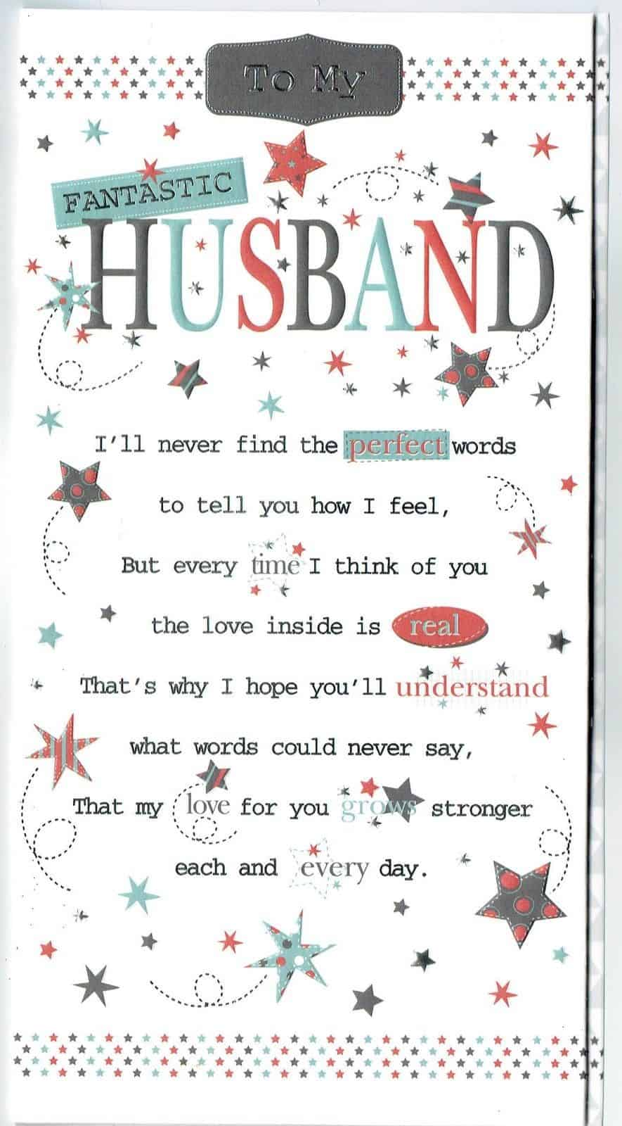 Husband Birthday Card With Sentiment Verse And Pop