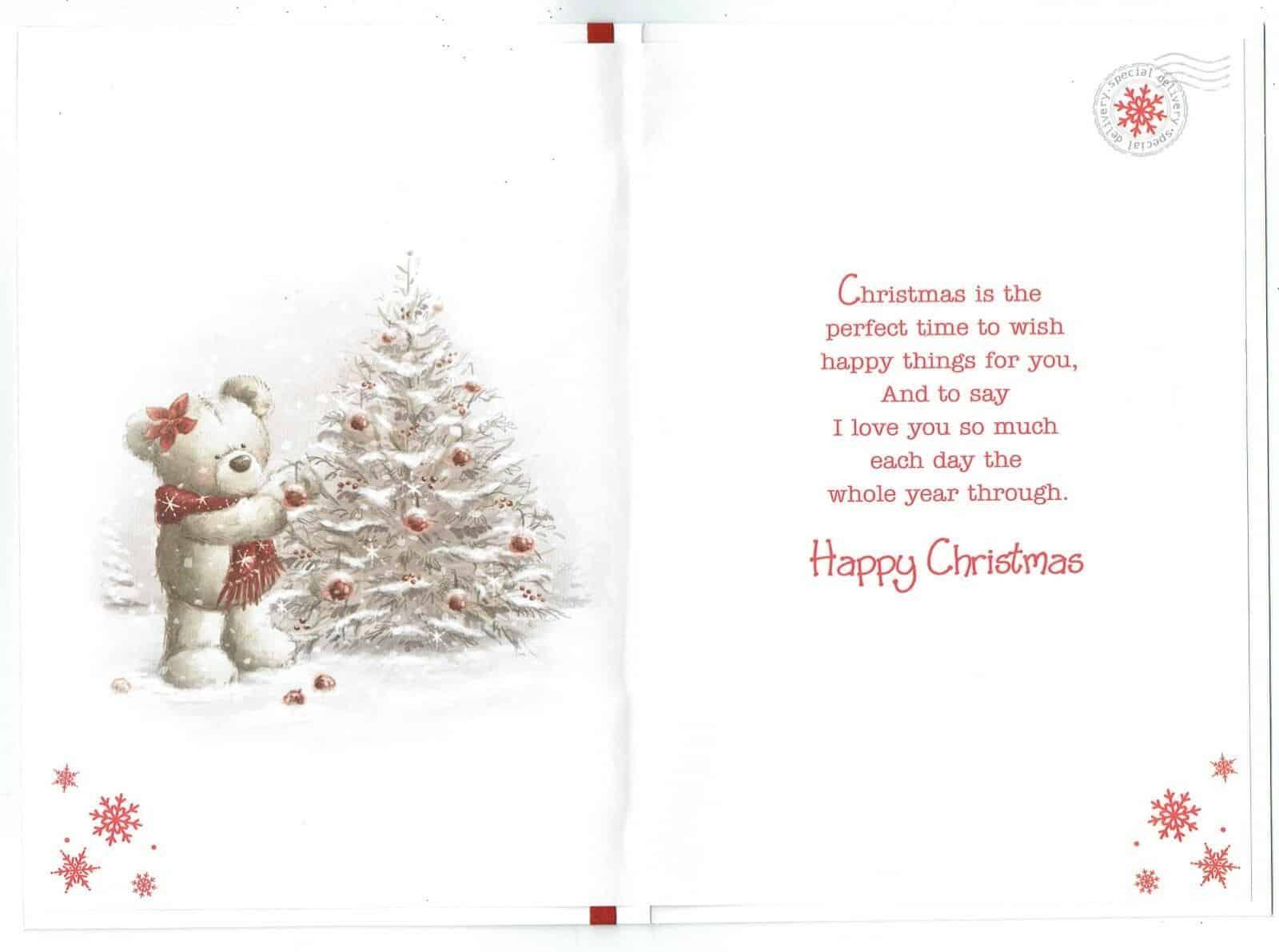 Partner Christmas Card With Festive Bears, Christmas Tree