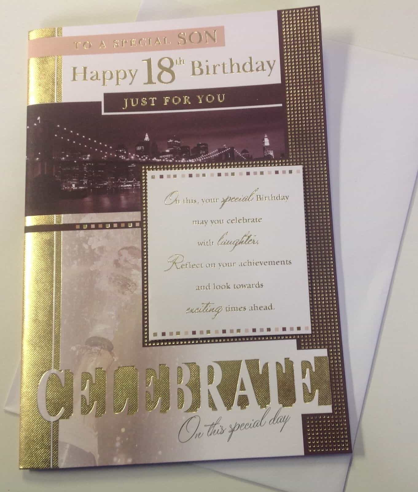Son 18th Birthday Card With Gold Lettering 282392793604