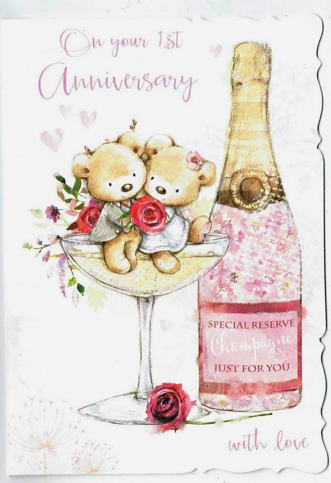 First Wedding Anniversary.1st Wedding Anniversary Card With Teddy Bear And Champagne Glass Design