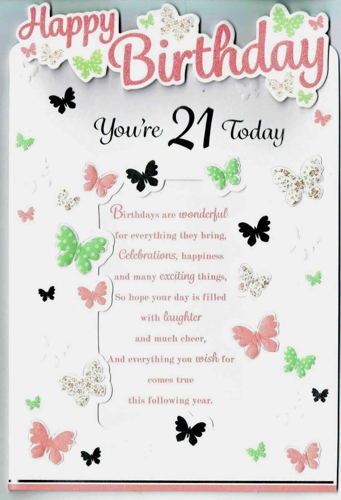 21st birthday card.