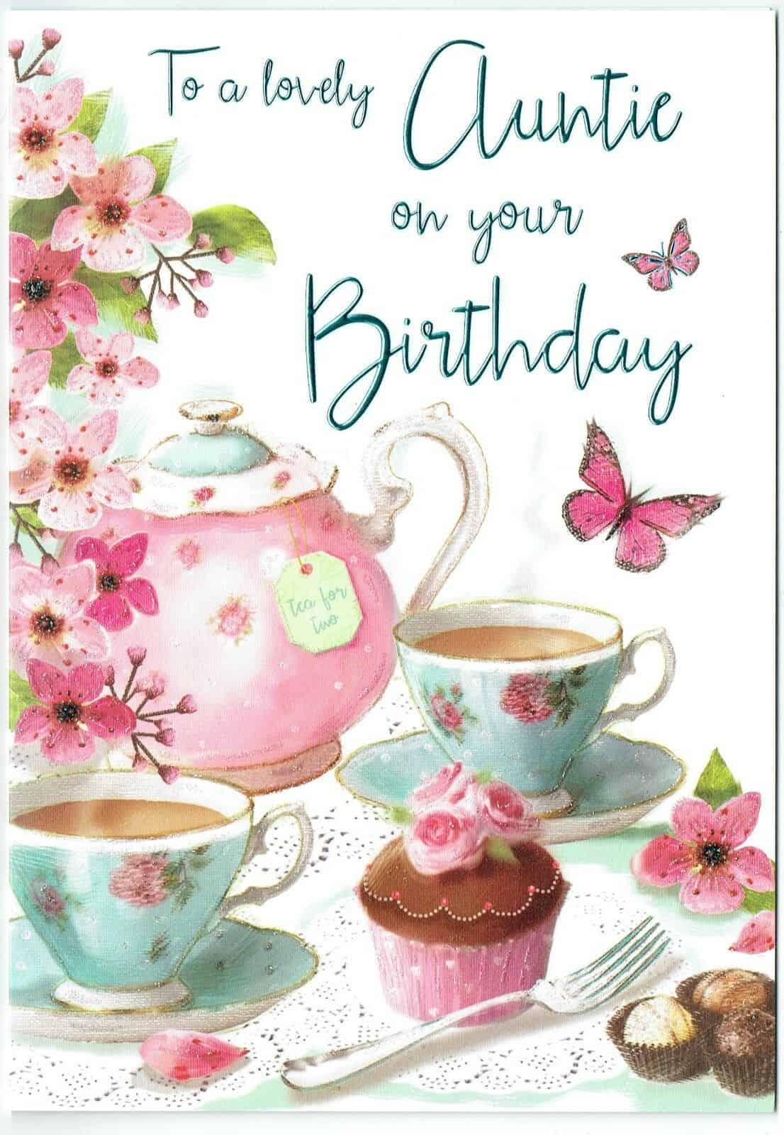 Auntie Birthday Card With Vintage Tea Set Theme