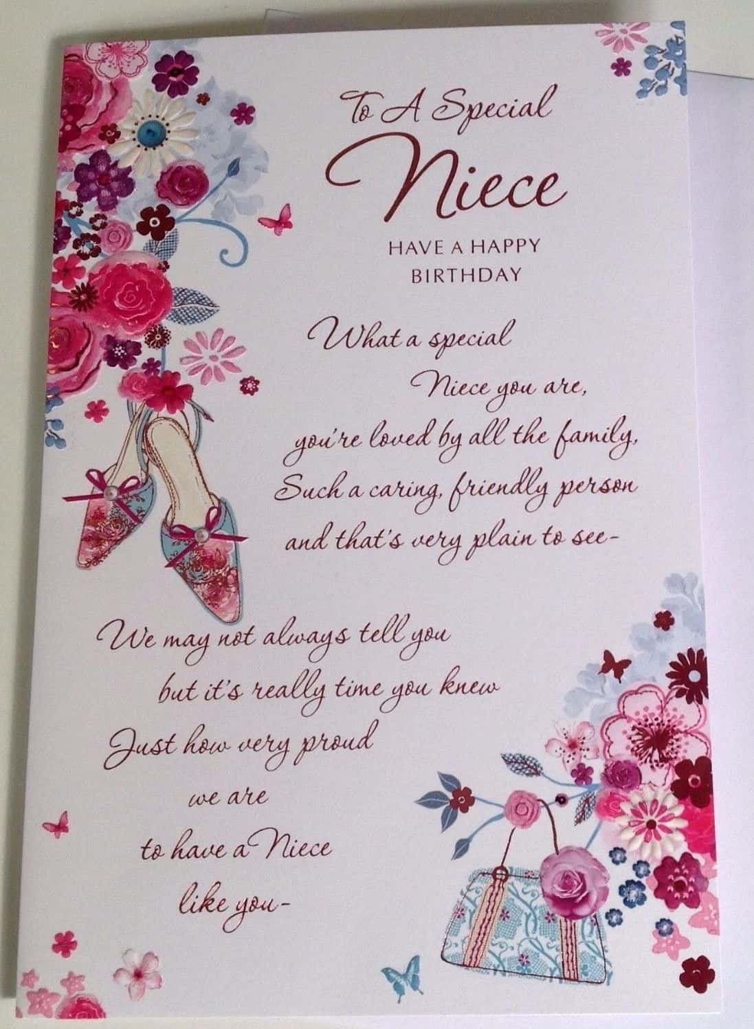 Niece Birthday Card Embossed With Sentiment Verse And