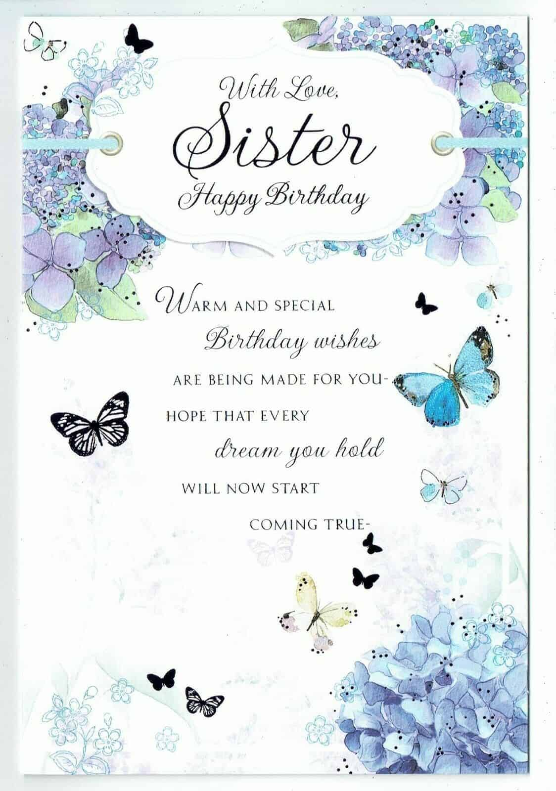 Sister Birthday Card With Butterfly Sentiment Verse Design