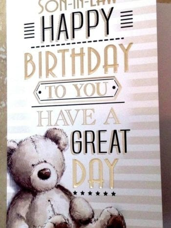 Son In Law Birthday Card With Embossed Teddy Bear Design