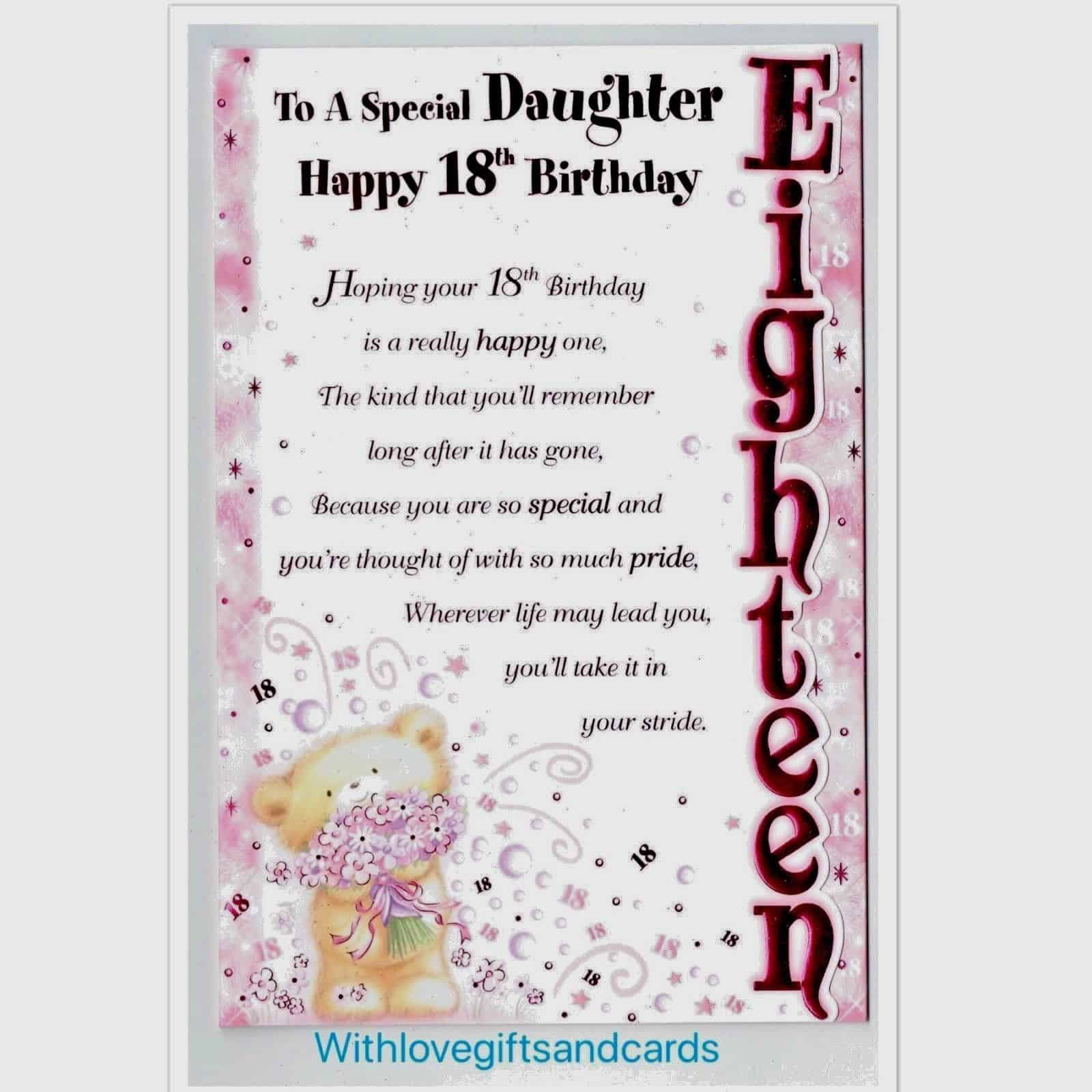 Daughter 18th Birthday Card Embossed With Lovely Sentiment Verse 282903123346