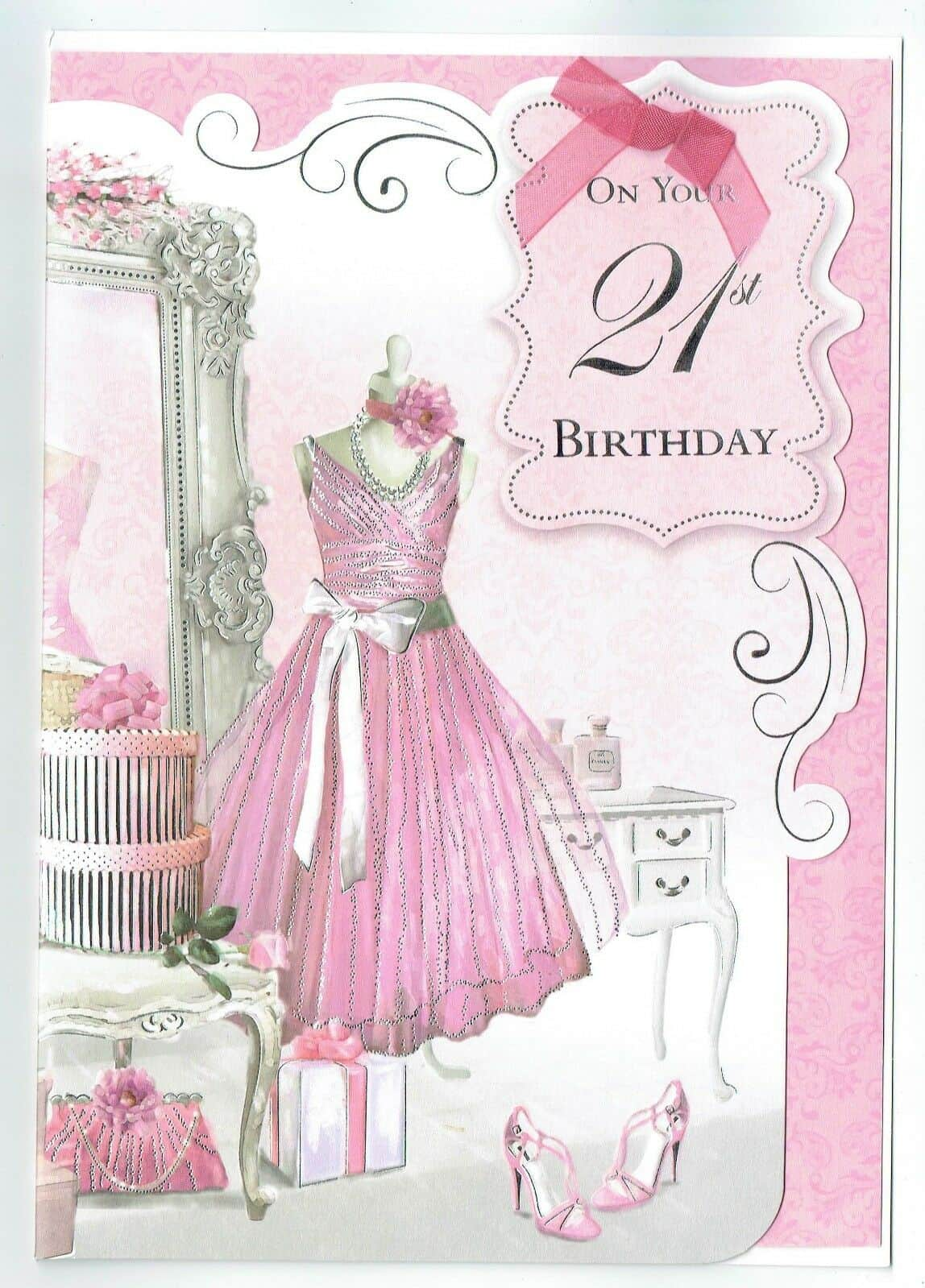 Daughter Birthday 21st Card With Pink Mannequinn Design