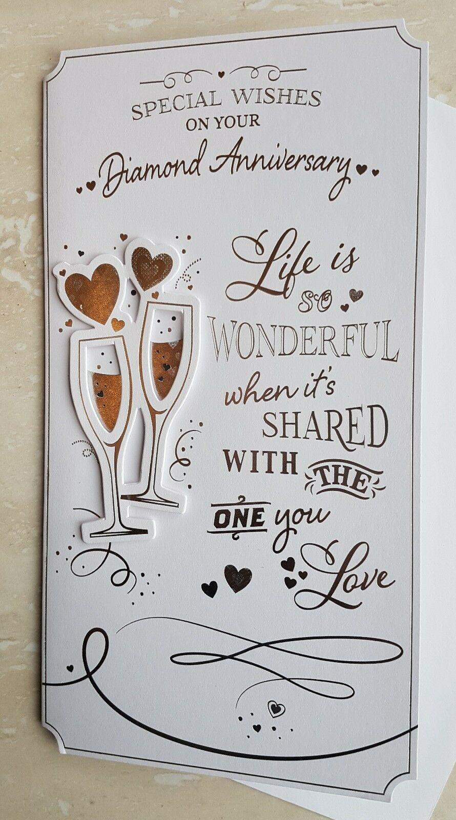 Diamond Wedding Anniversary Card With Hearts And Champagne | eBay