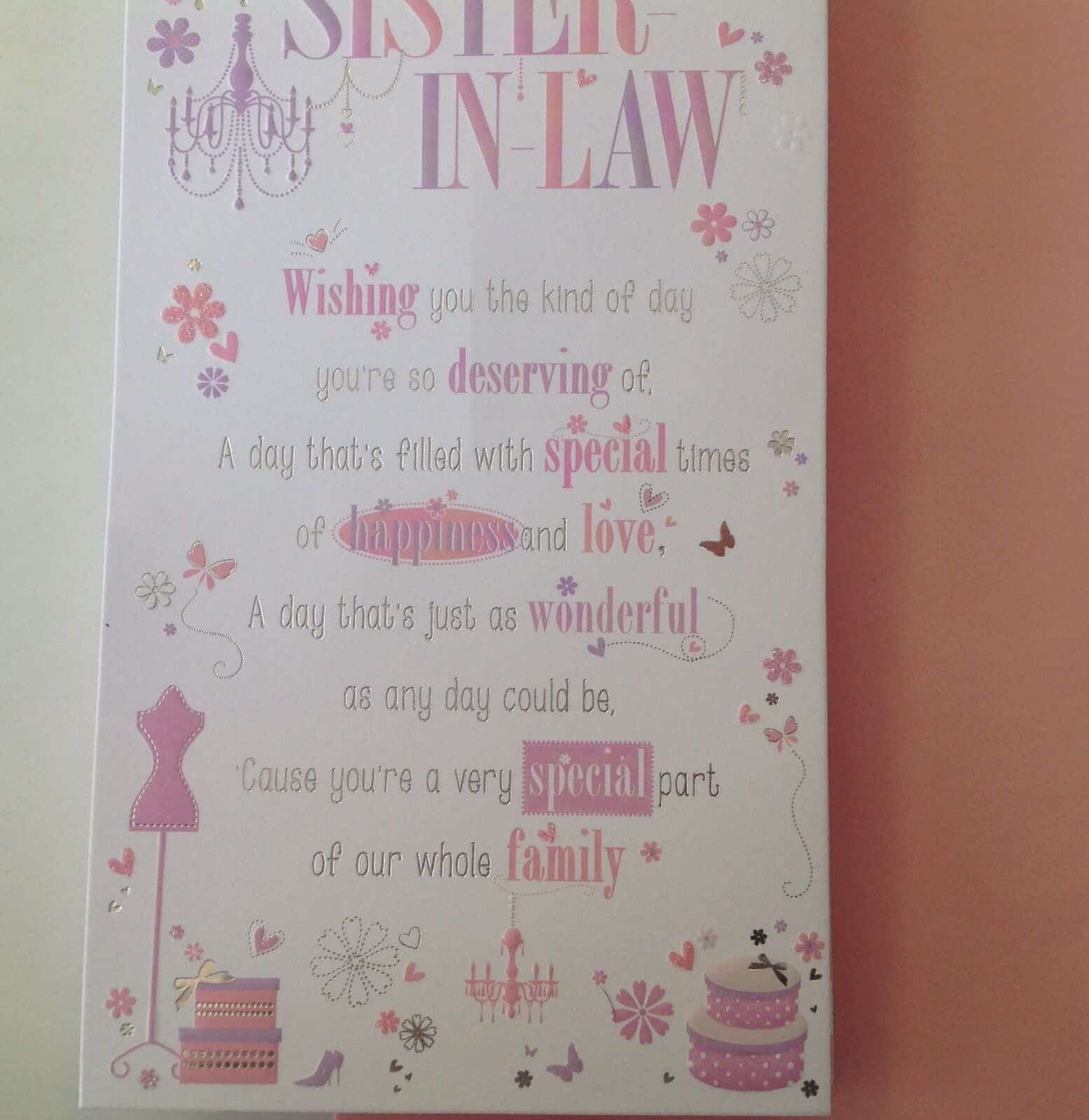 Sister In Law Birthday Card With Pop Up Verse 282518763076 2